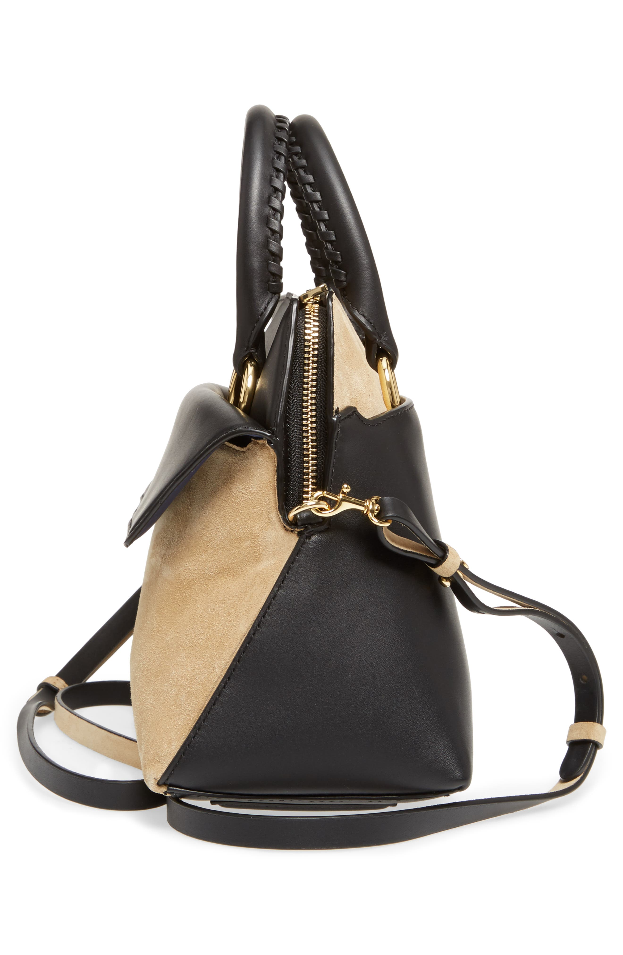 Small Leather & Suede Satchel,                             Alternate thumbnail 5, color,                             Black
