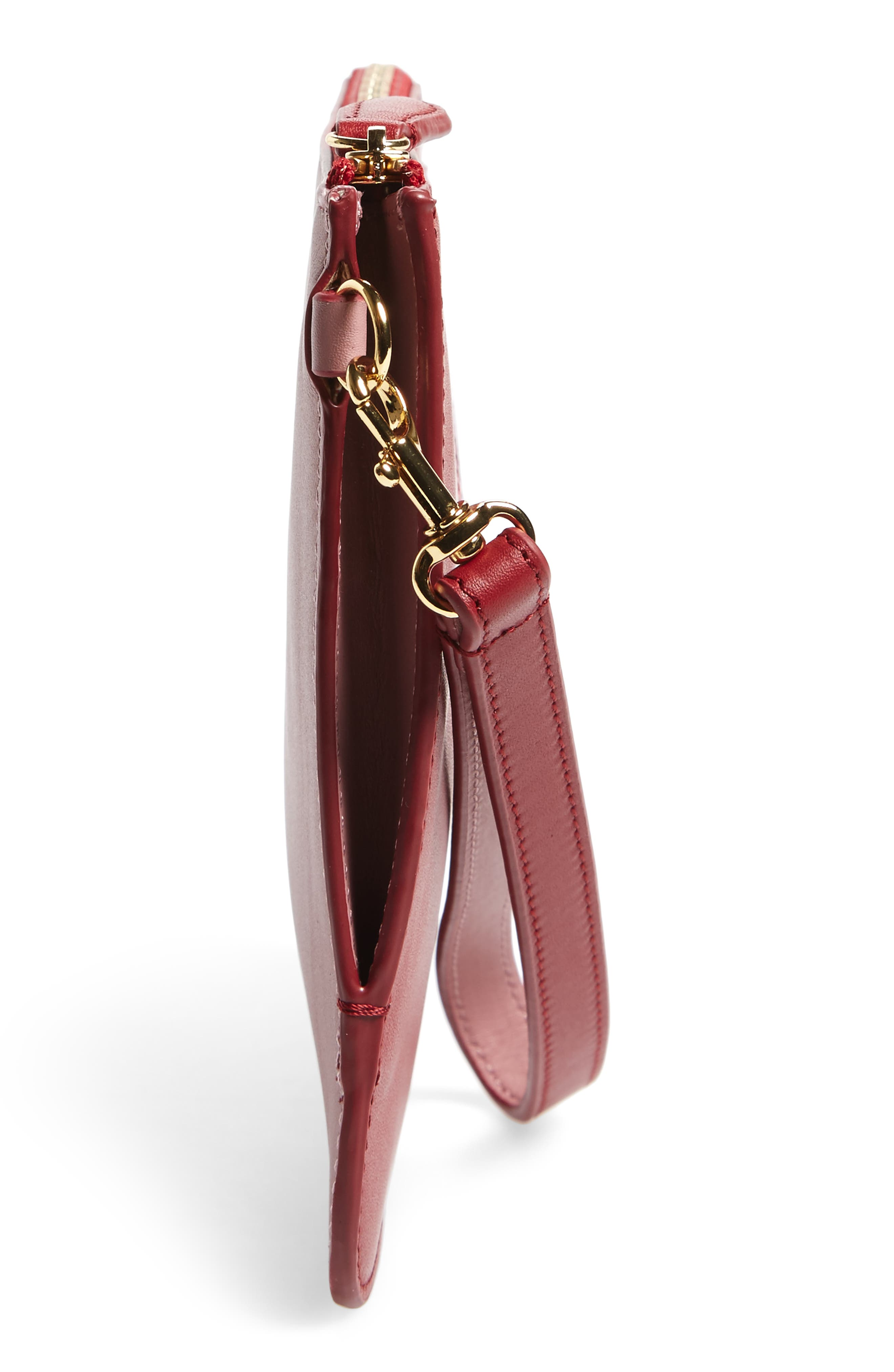 Medium Leather Zip Pouch,                             Alternate thumbnail 5, color,                             Purple