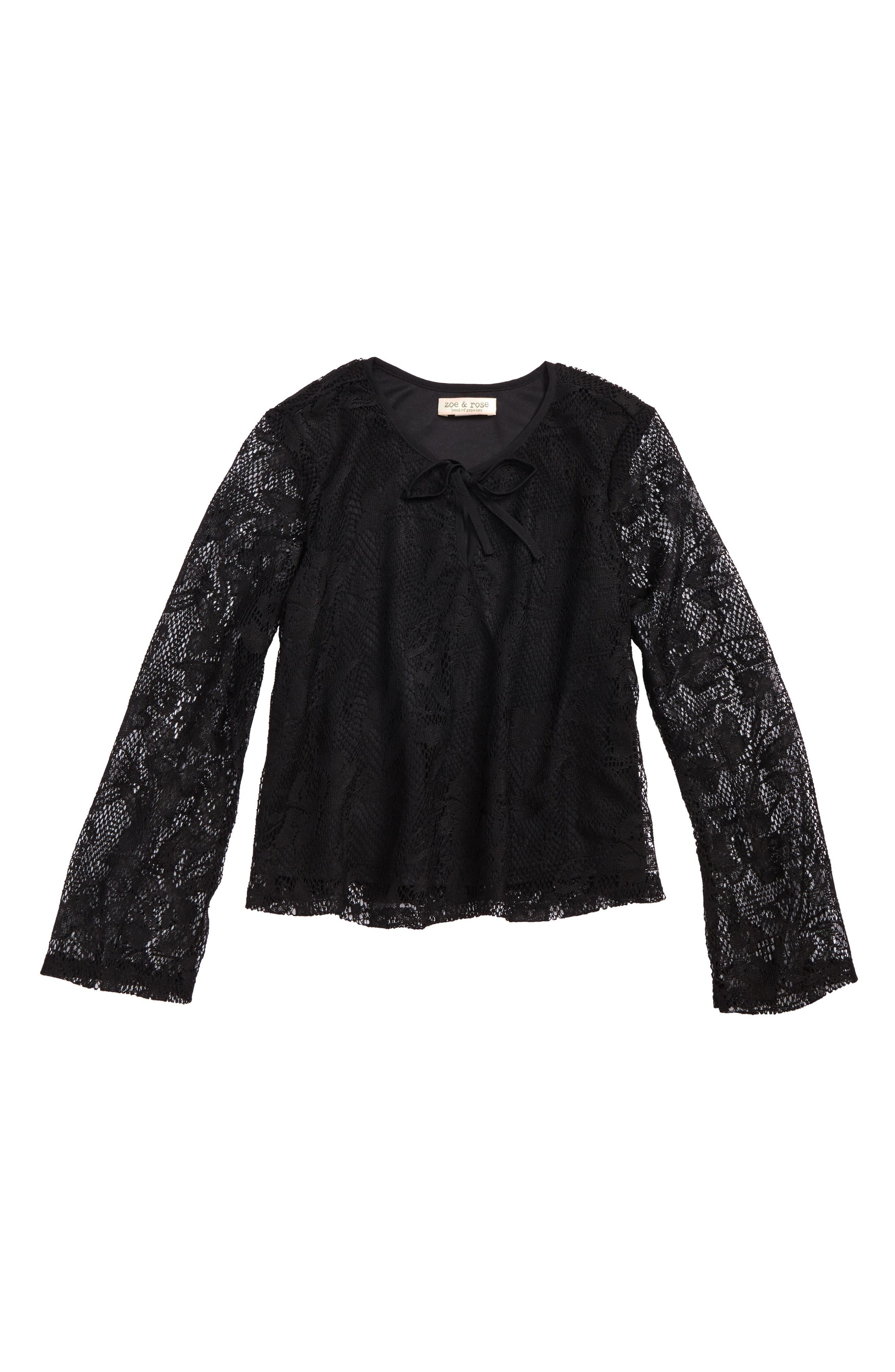Zoe & Rose Lace Flare Sleeve Blouse,                             Main thumbnail 1, color,                             Black