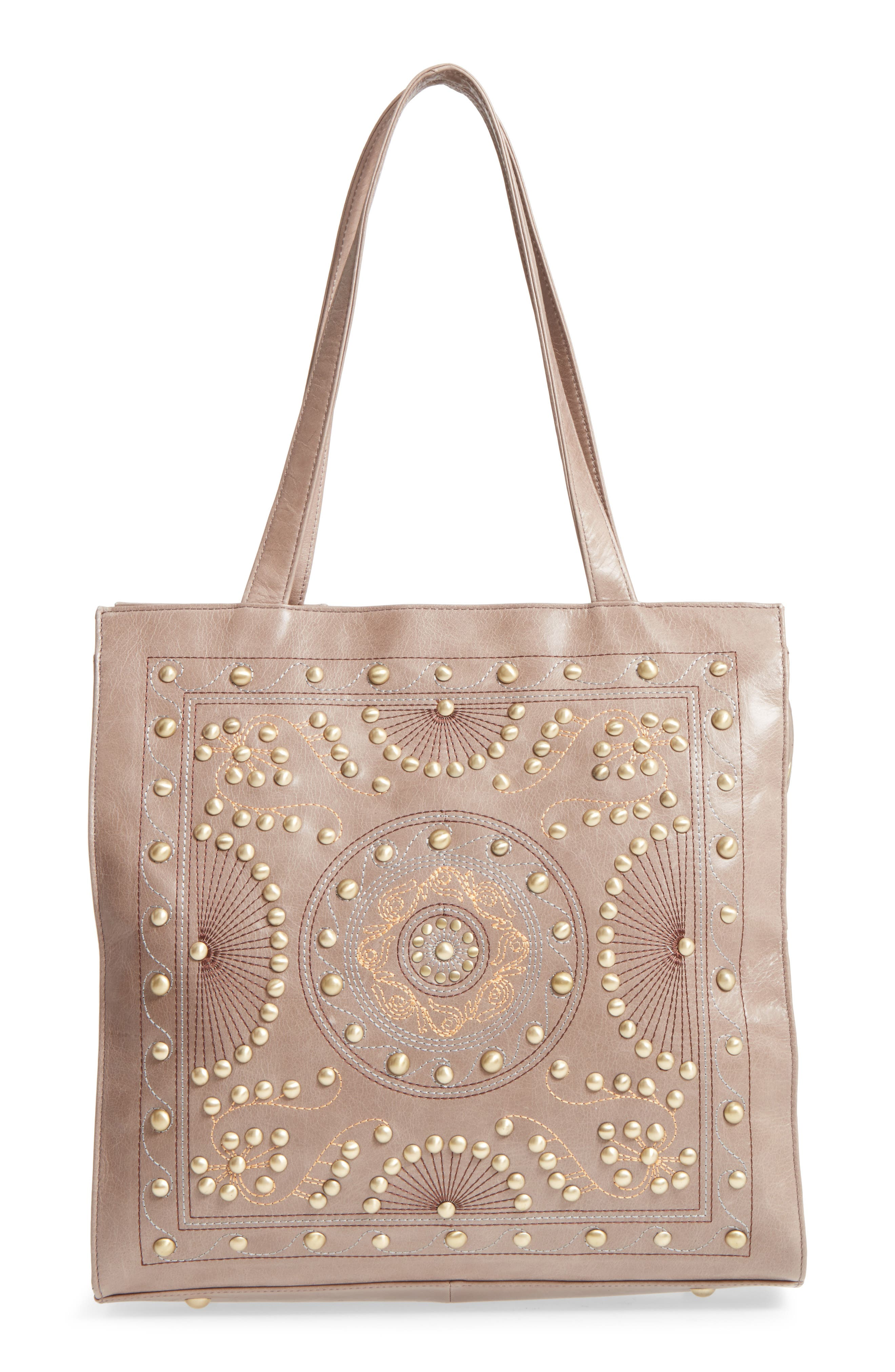 Avalon Studded Calfskin Leather Tote,                         Main,                         color, Ash
