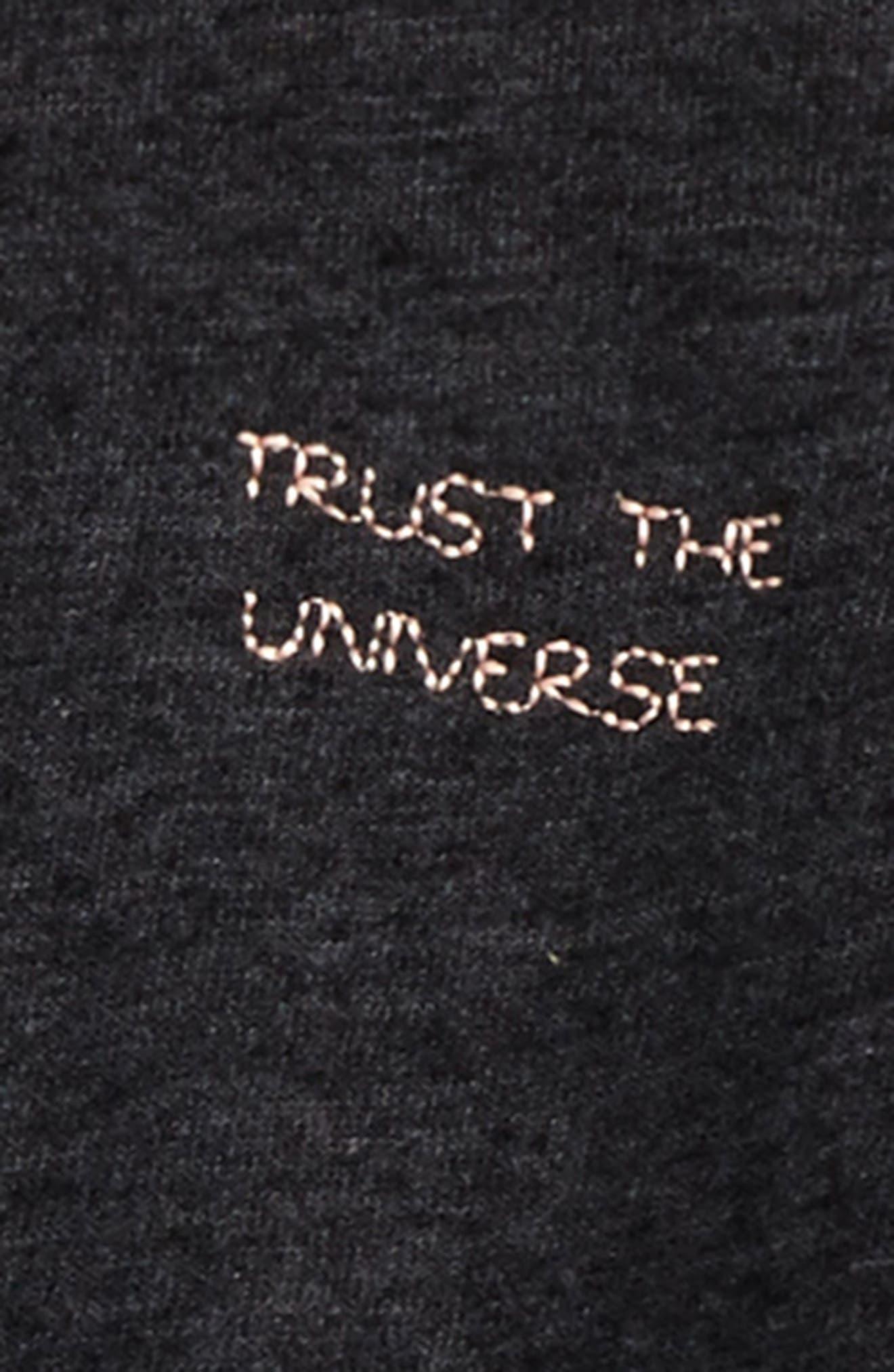 Trust the Universe Crop Sweatshirt,                             Alternate thumbnail 2, color,                             Vintage Black