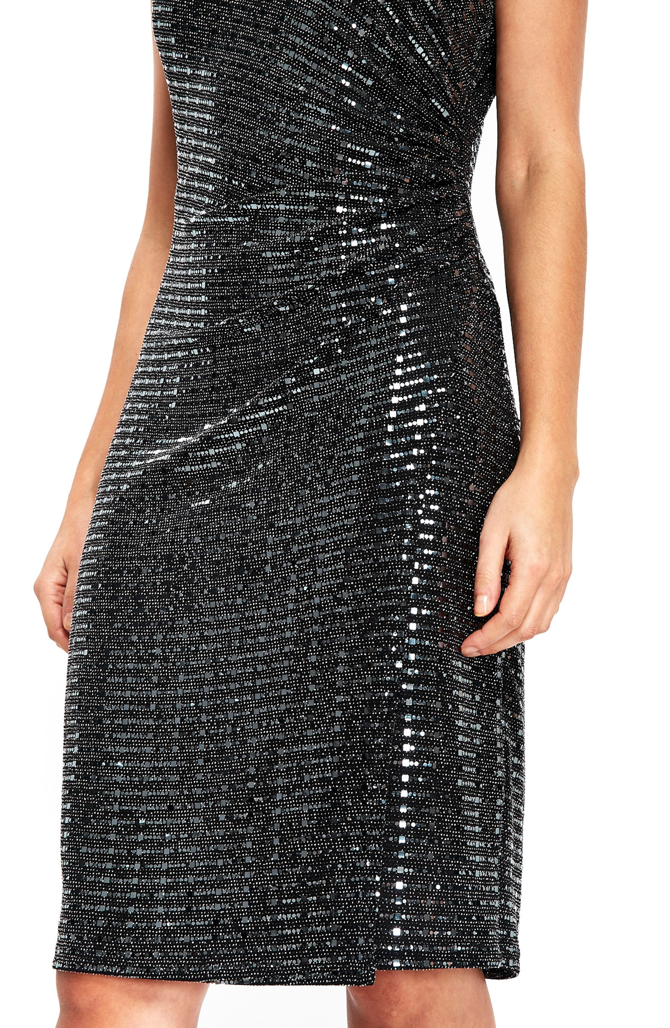Sequin Side Ruched Dress,                             Alternate thumbnail 3, color,                             Silver