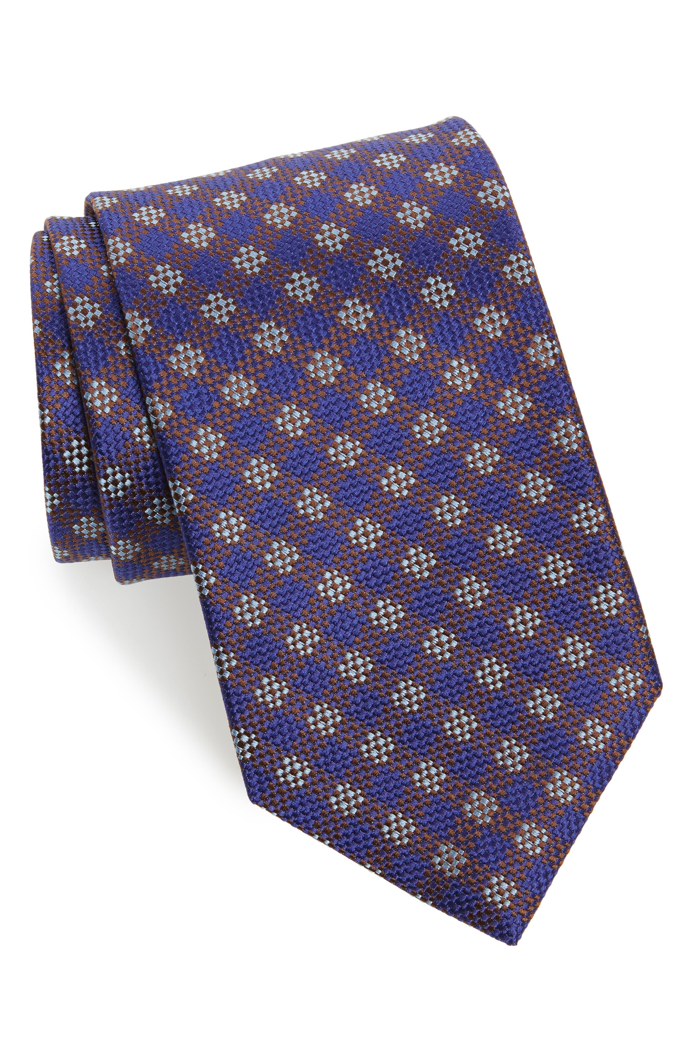 David Donahue Grid Silk Tie (X-Long)