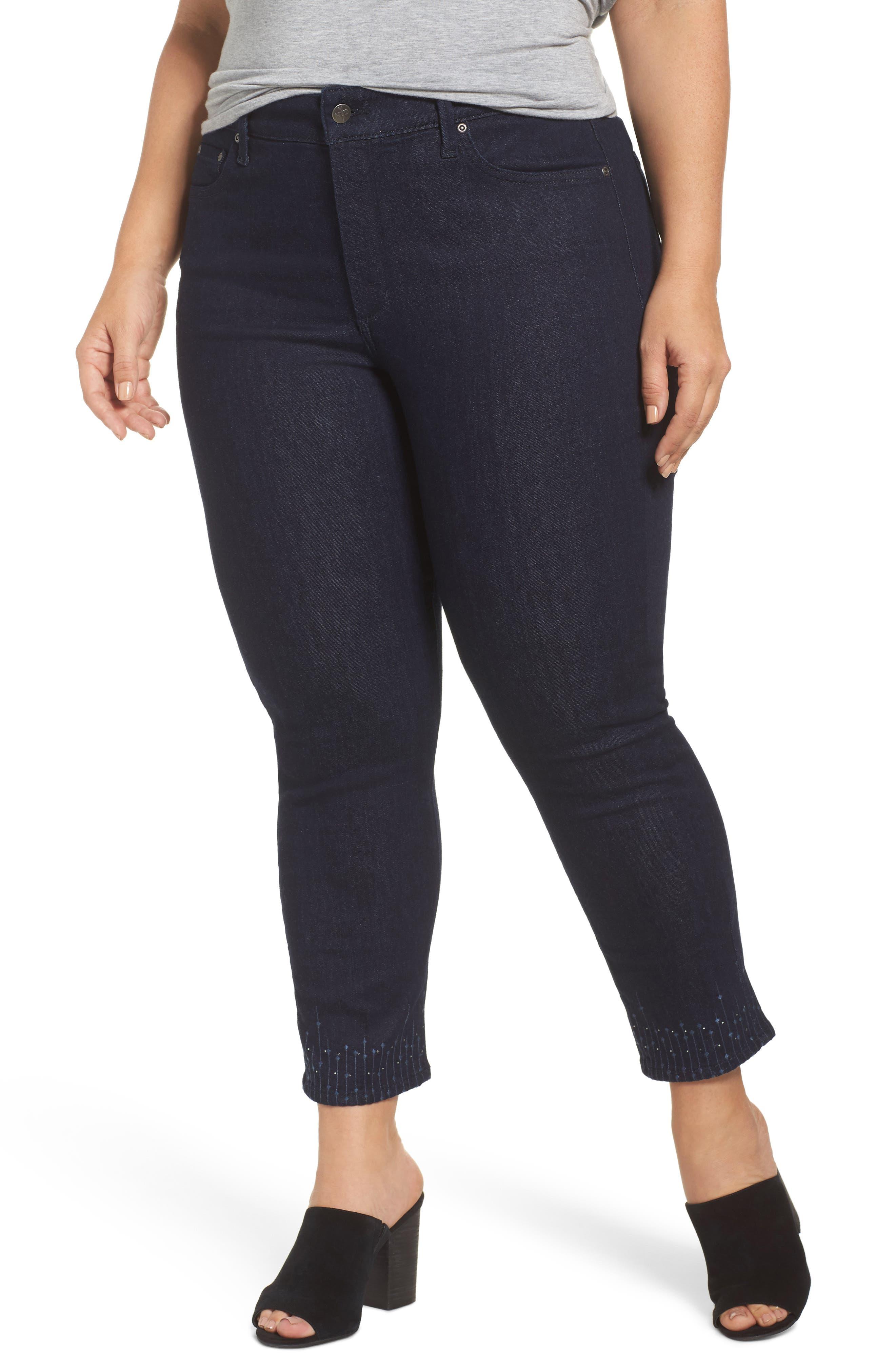 Alternate Image 1 Selected - NYDJ Sheri Bling Hem Stretch Ankle Skinny Jeans (Plus Size)