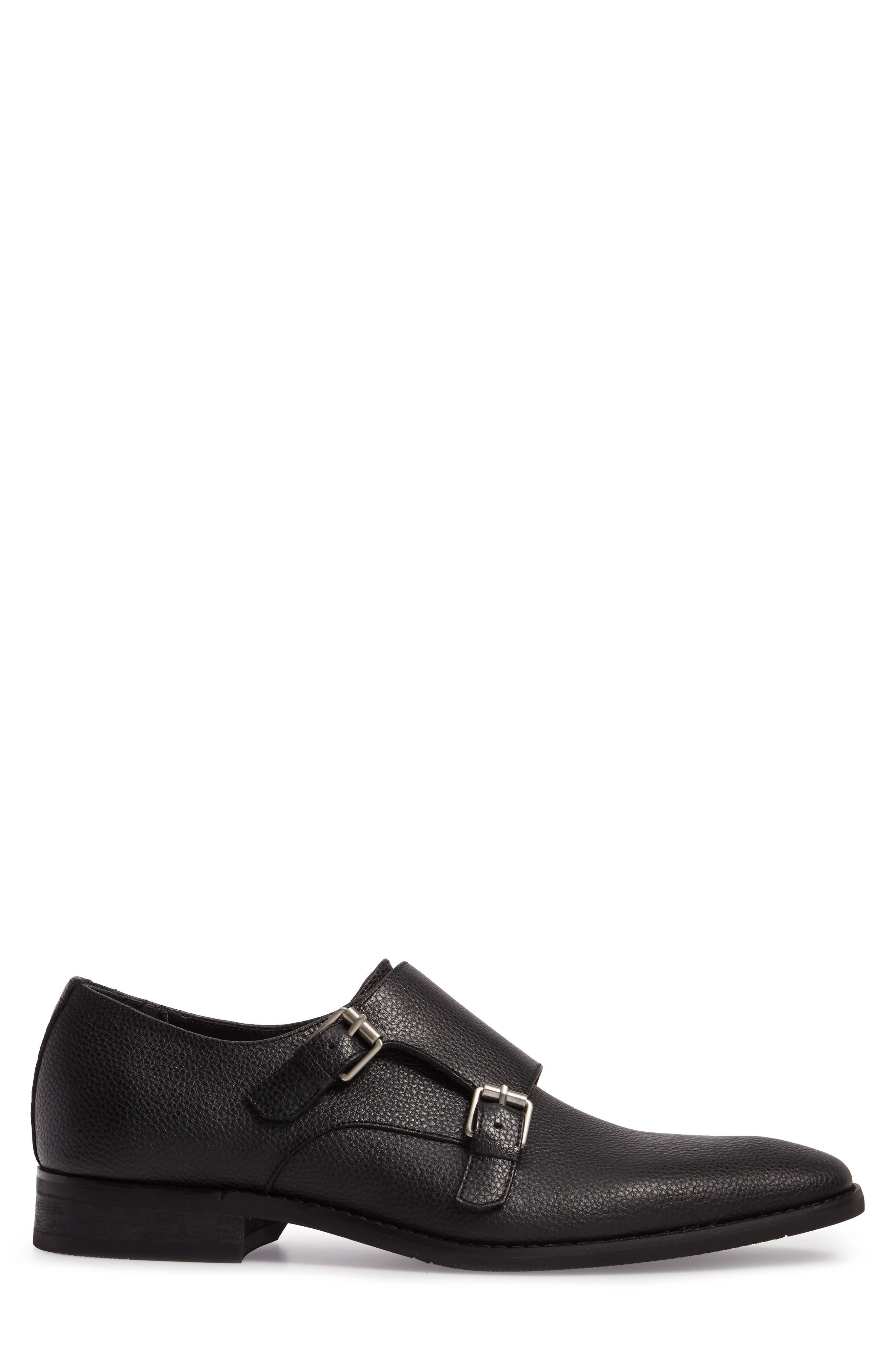 Robbie Double Monk Strap Shoe,                             Alternate thumbnail 3, color,                             Black Leather