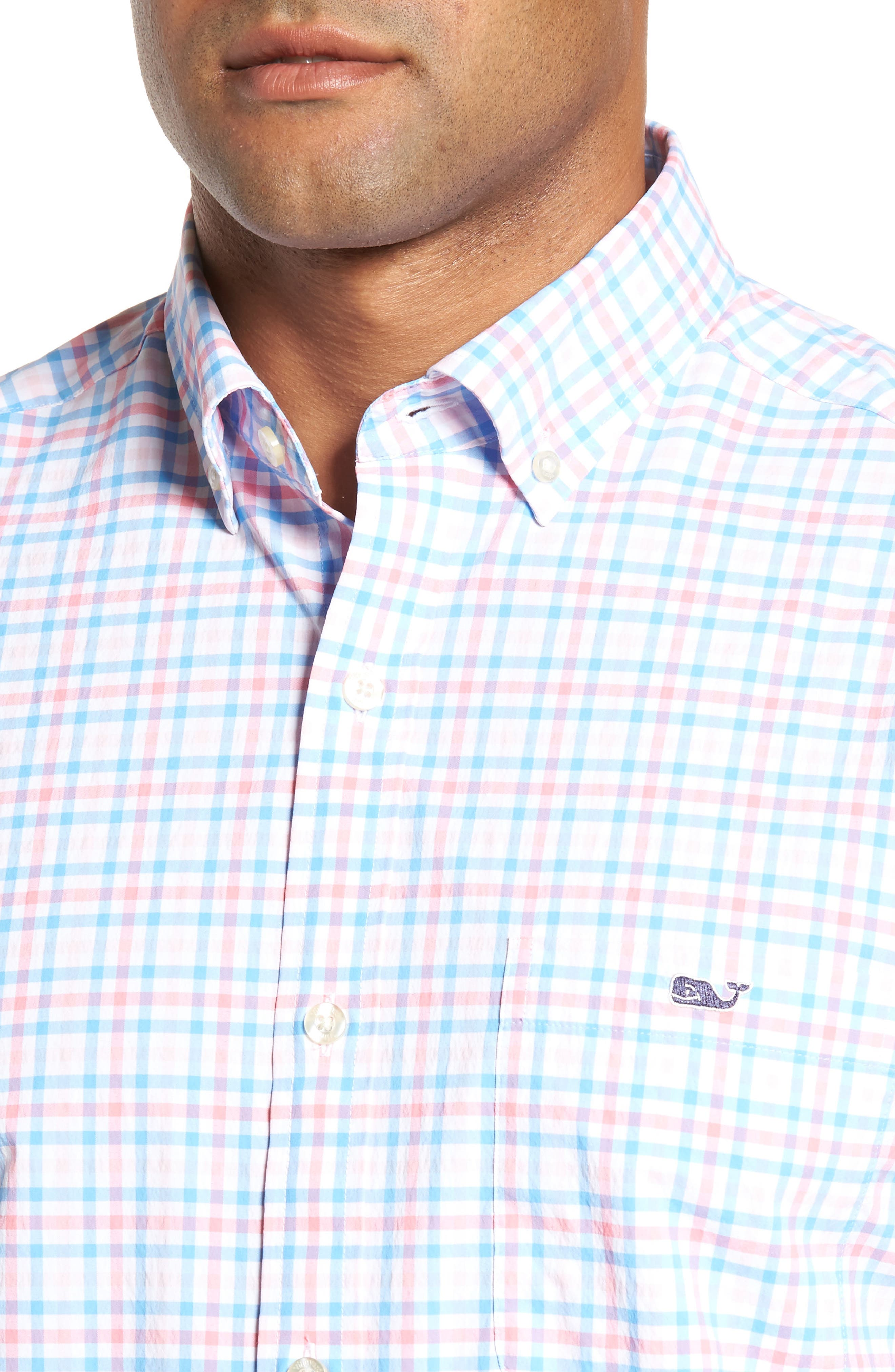 Gulf Shore Tucker Classic Fit Gingham Sport Shirt,                             Alternate thumbnail 4, color,                             Bahama Breeze