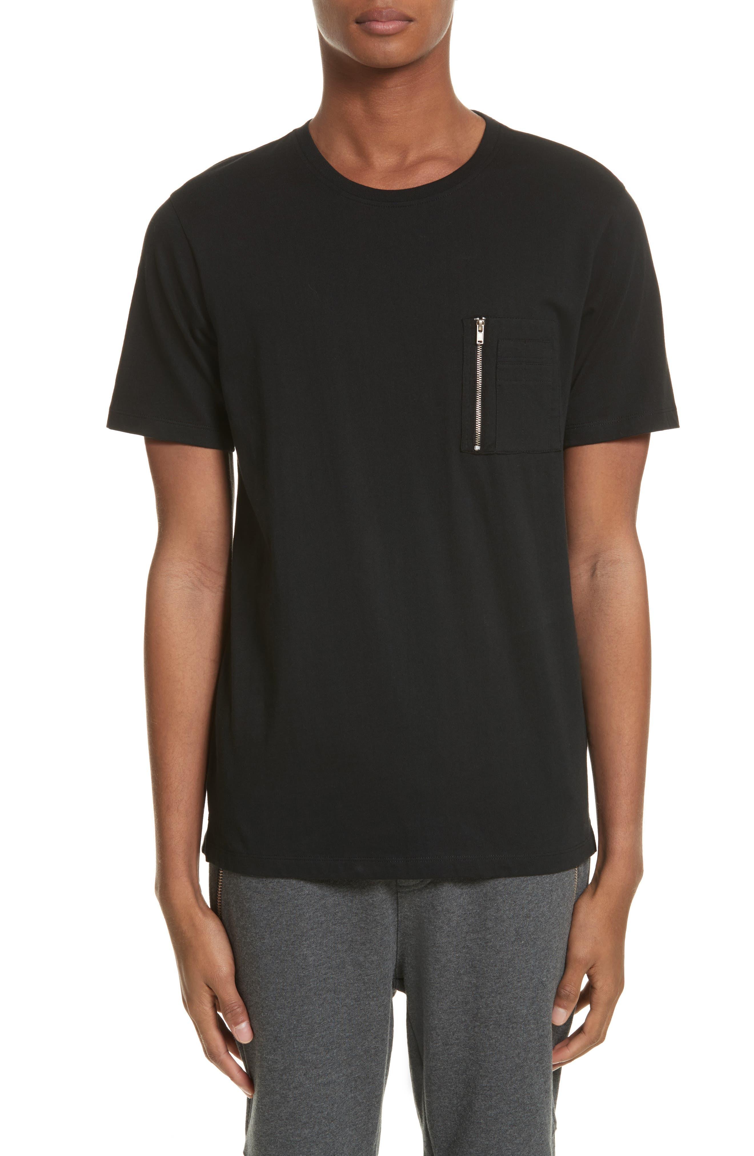 Zip Pocket T-Shirt,                         Main,                         color, Black