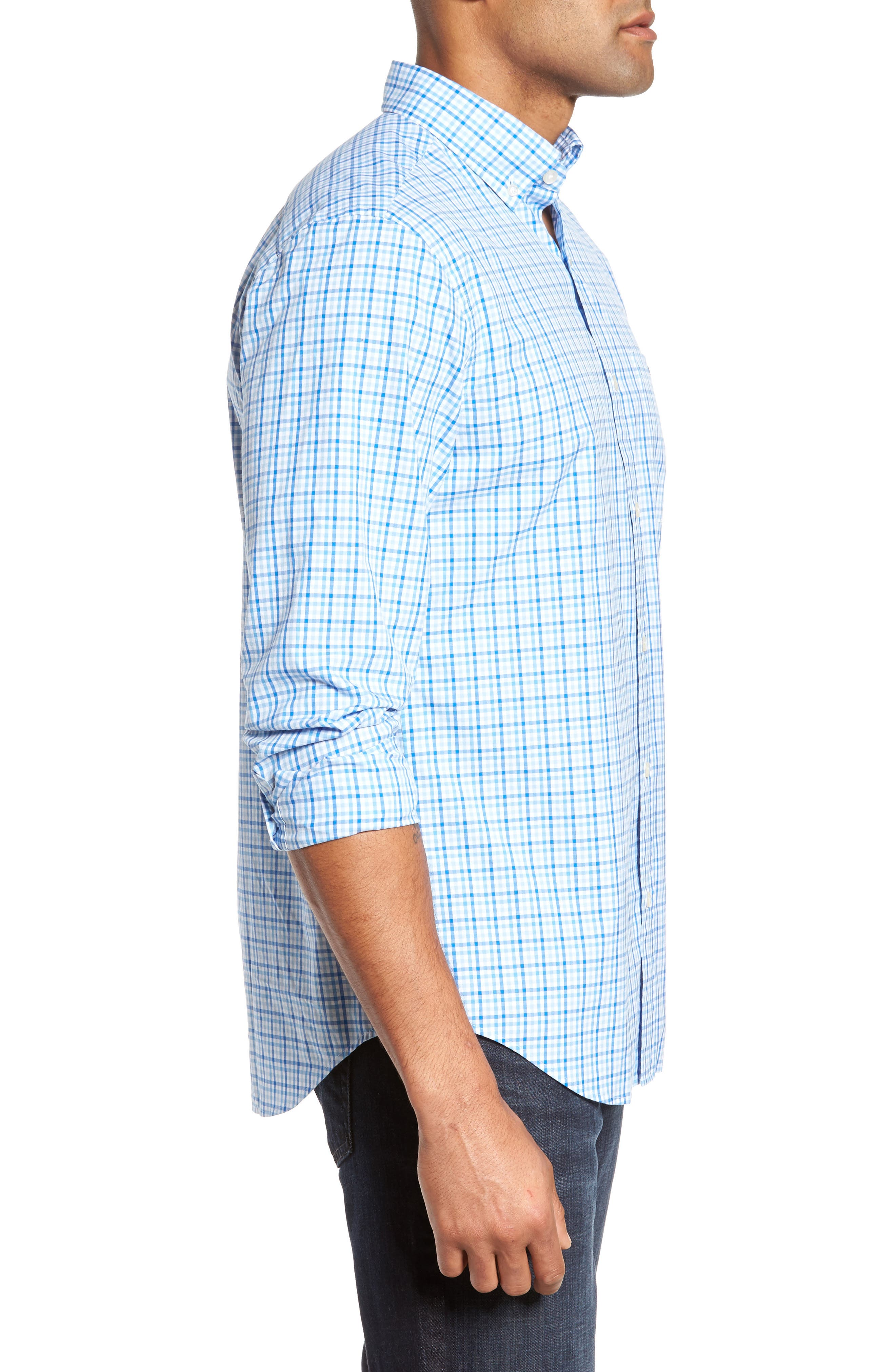 Munroe Tucker Classic Fit Gingham Sport Shirt,                             Alternate thumbnail 3, color,                             Jake Blue