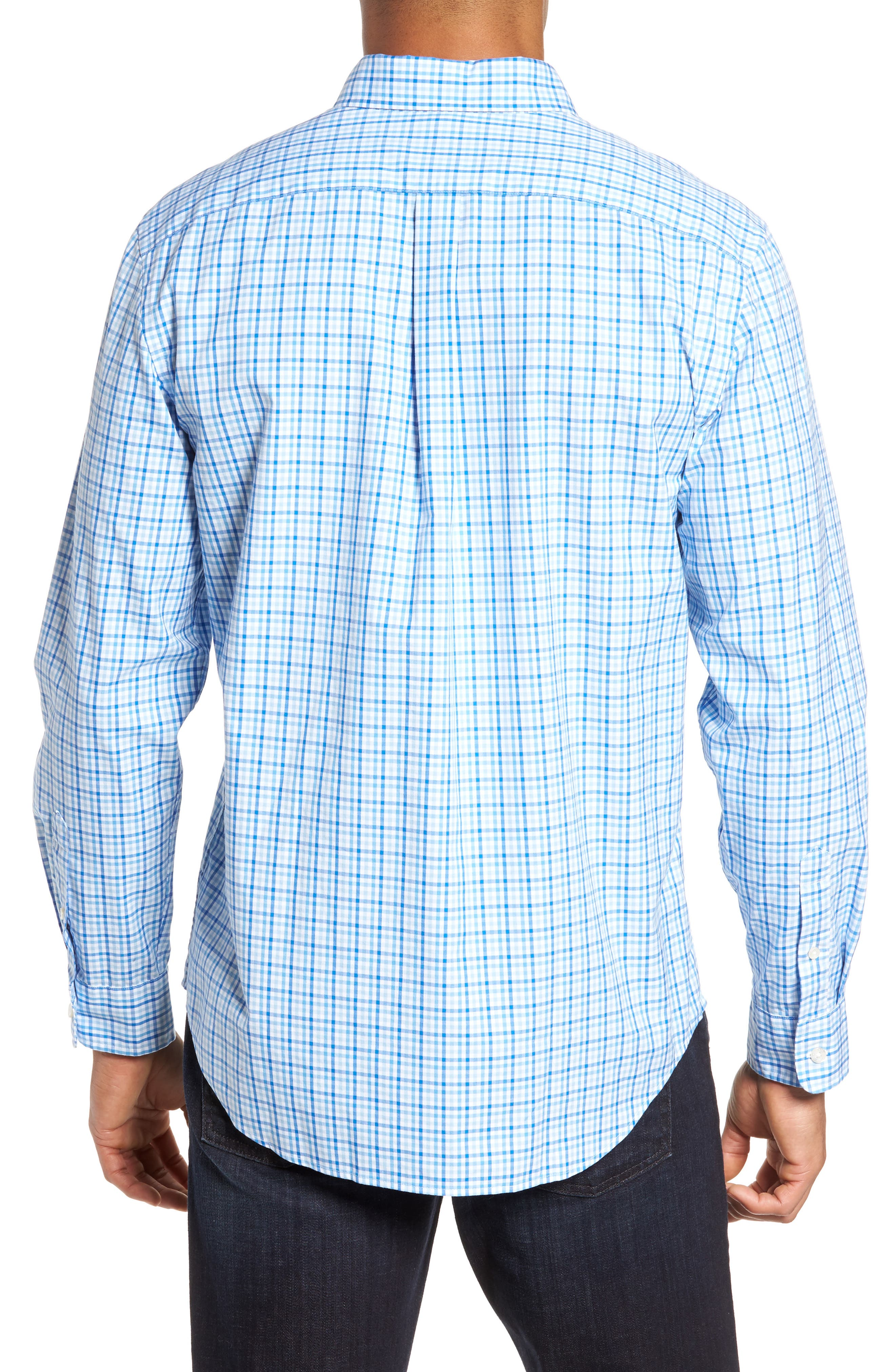 Munroe Tucker Classic Fit Gingham Sport Shirt,                             Alternate thumbnail 2, color,                             Jake Blue