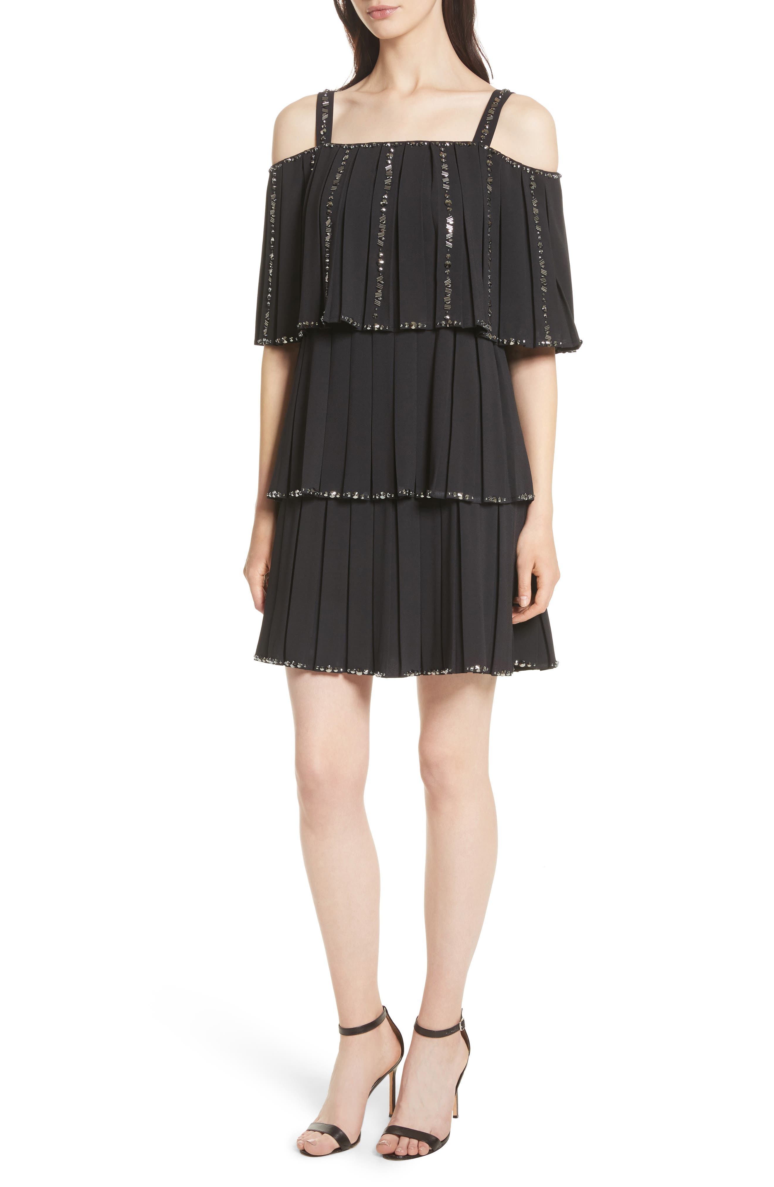 Embellished Pleat Tiered Dress,                         Main,                         color, Black