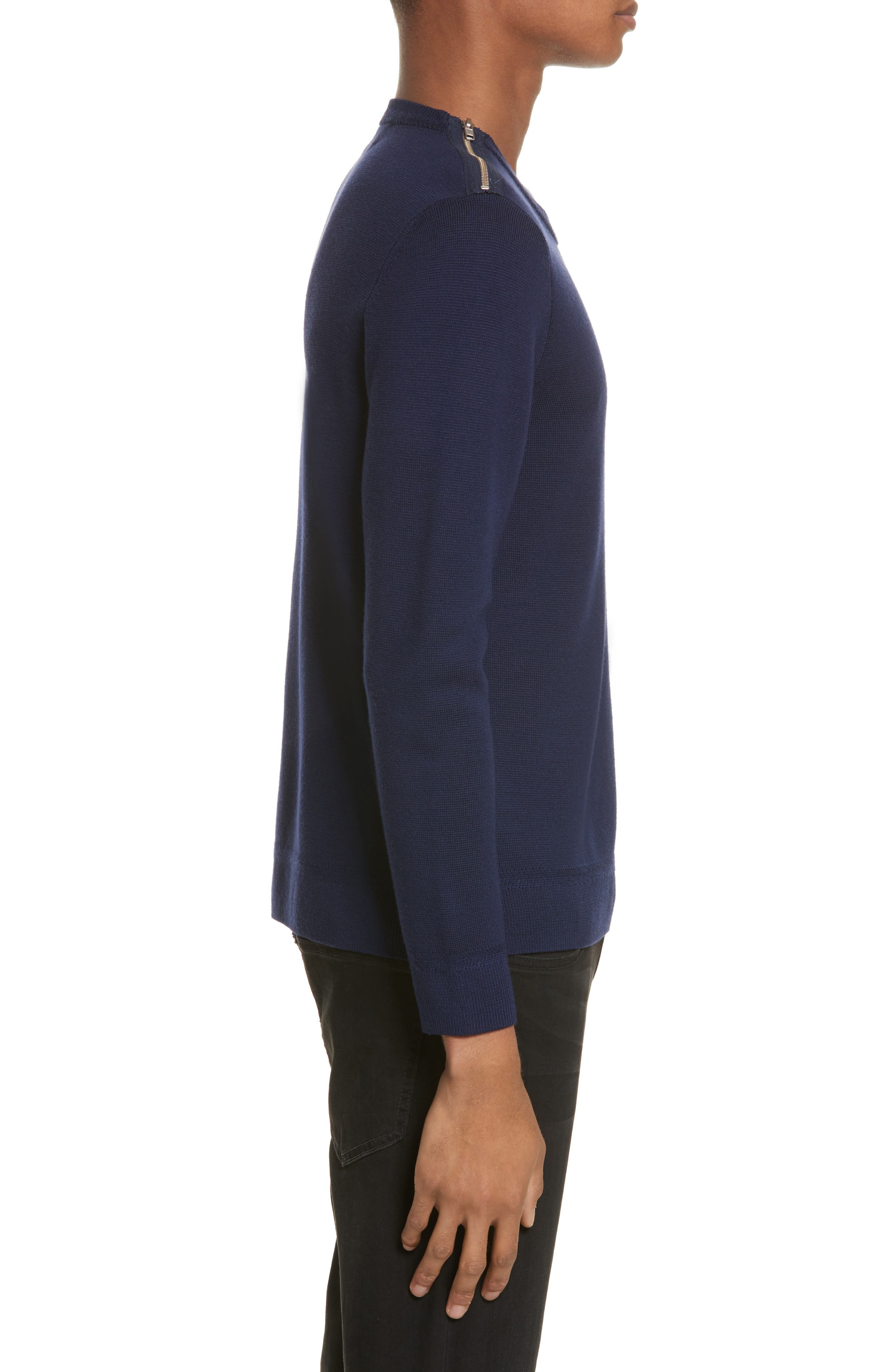 Merino Wool Blend Sweater with Shoulder Zip Trim,                             Alternate thumbnail 3, color,                             Navy