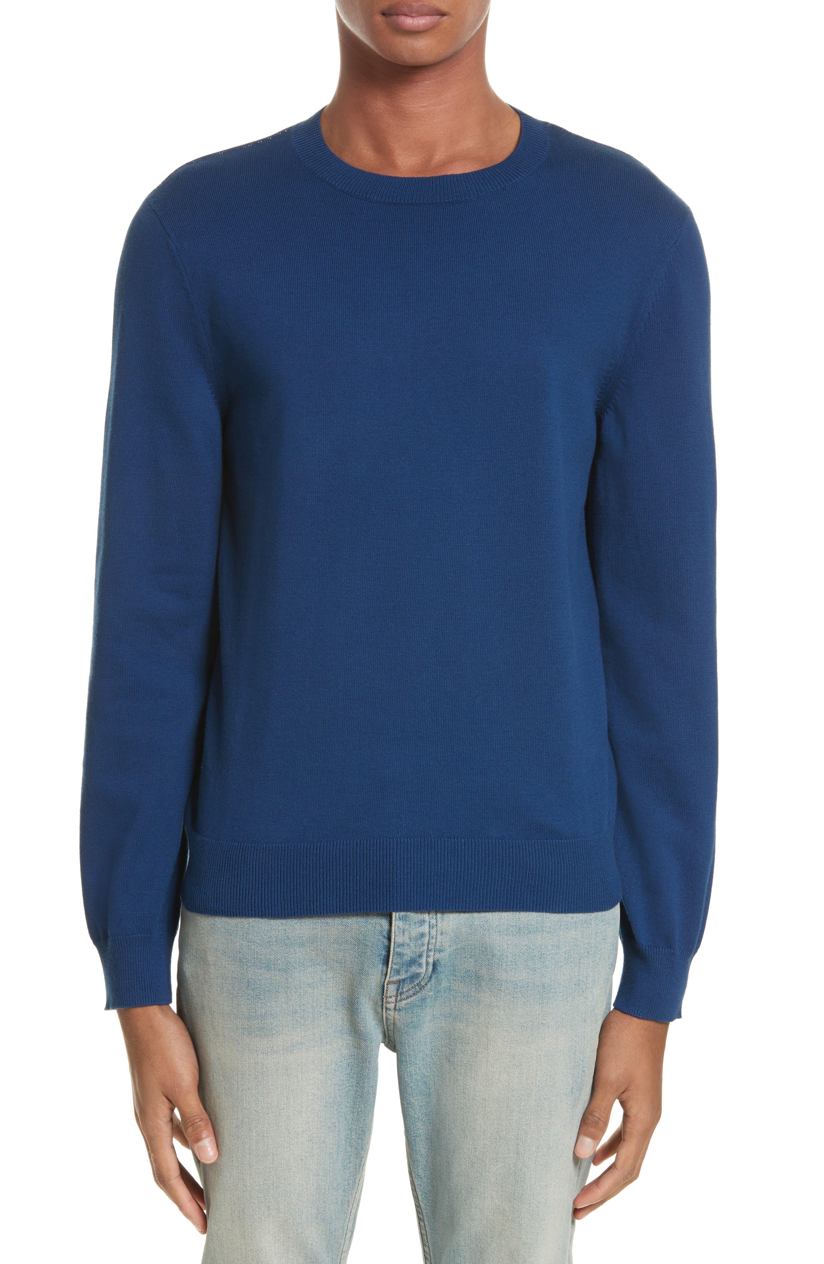 CIA Crewneck Sweater,                             Main thumbnail 1, color,                             Bleu Fonce Iah
