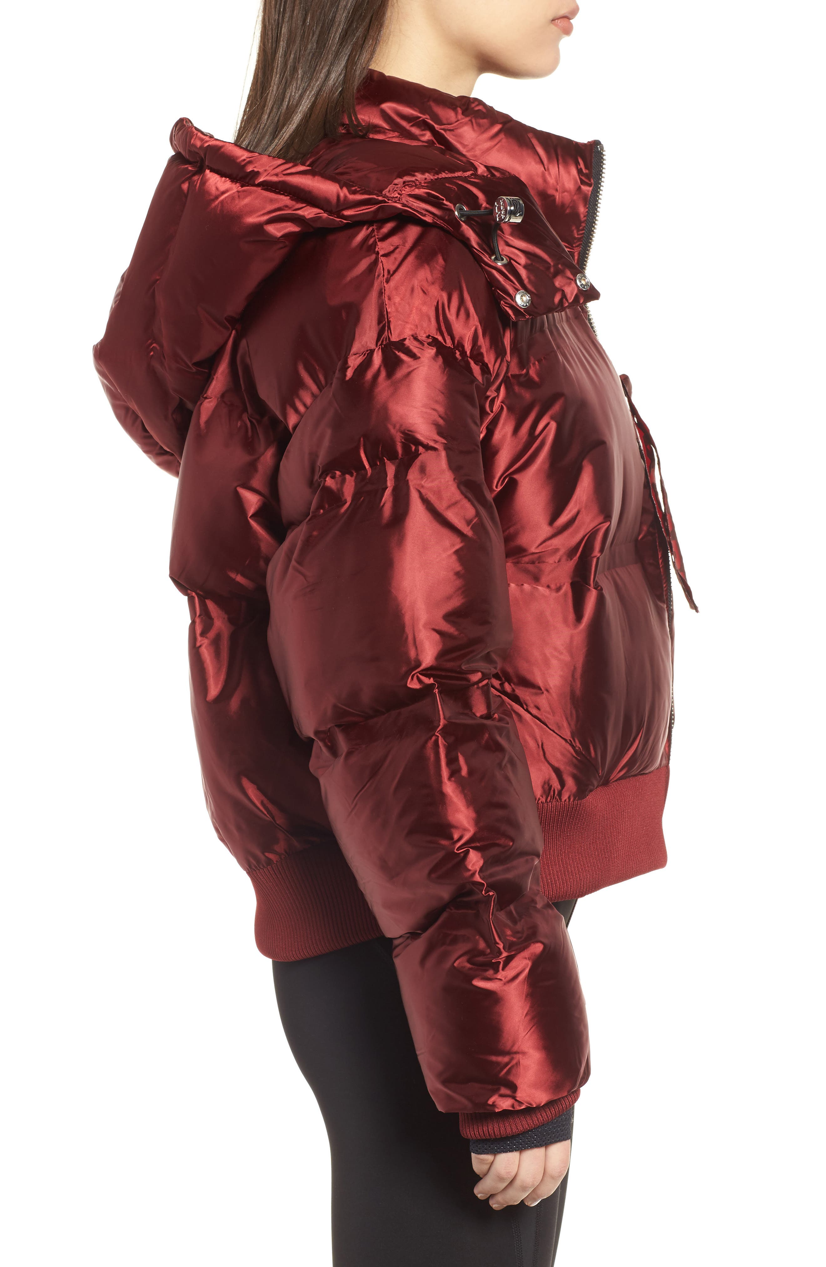 Crop Hooded Puffer Jacket,                             Alternate thumbnail 3, color,                             Russet