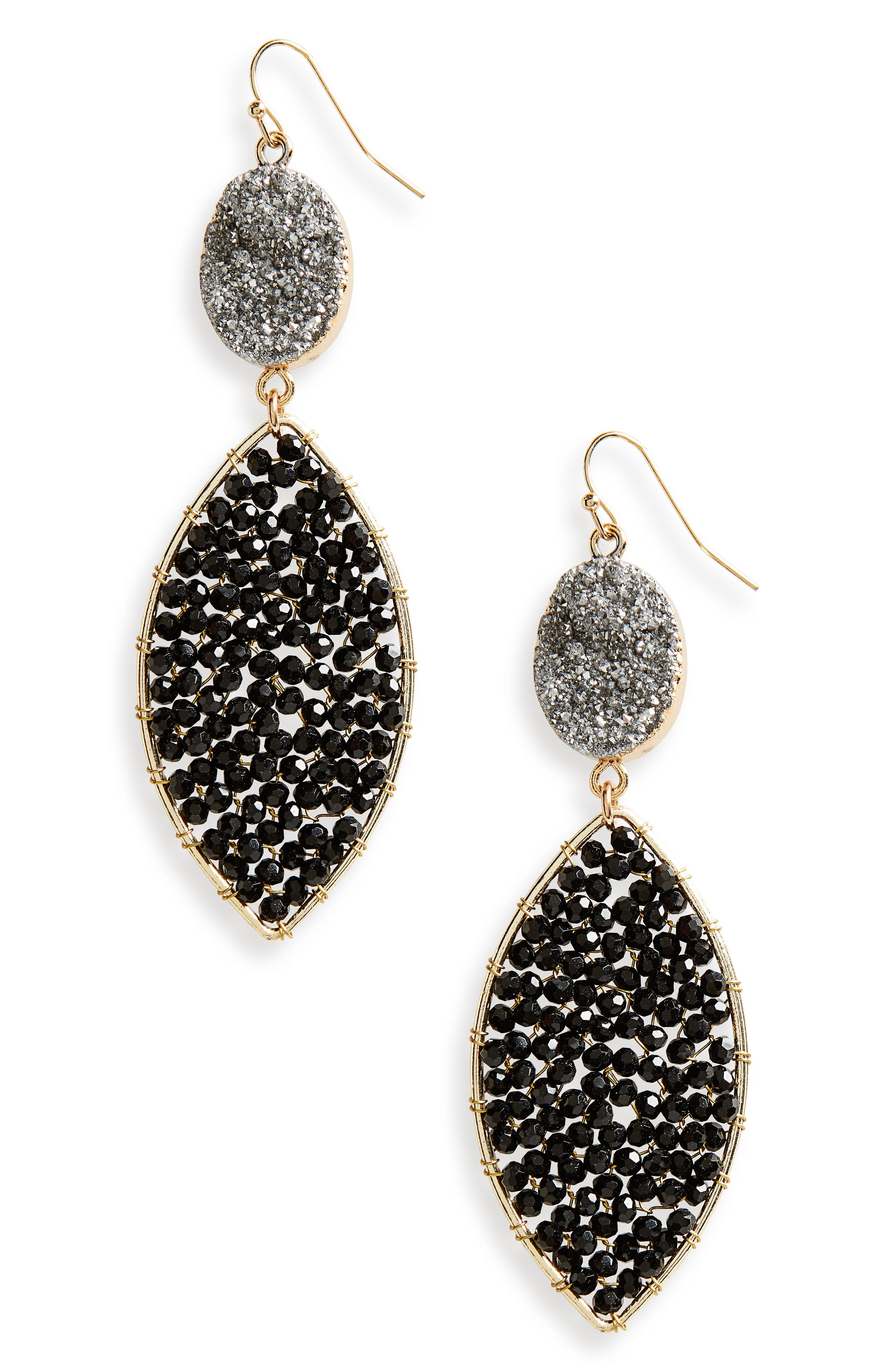 Drusy Drop Earrings,                         Main,                         color, Jet