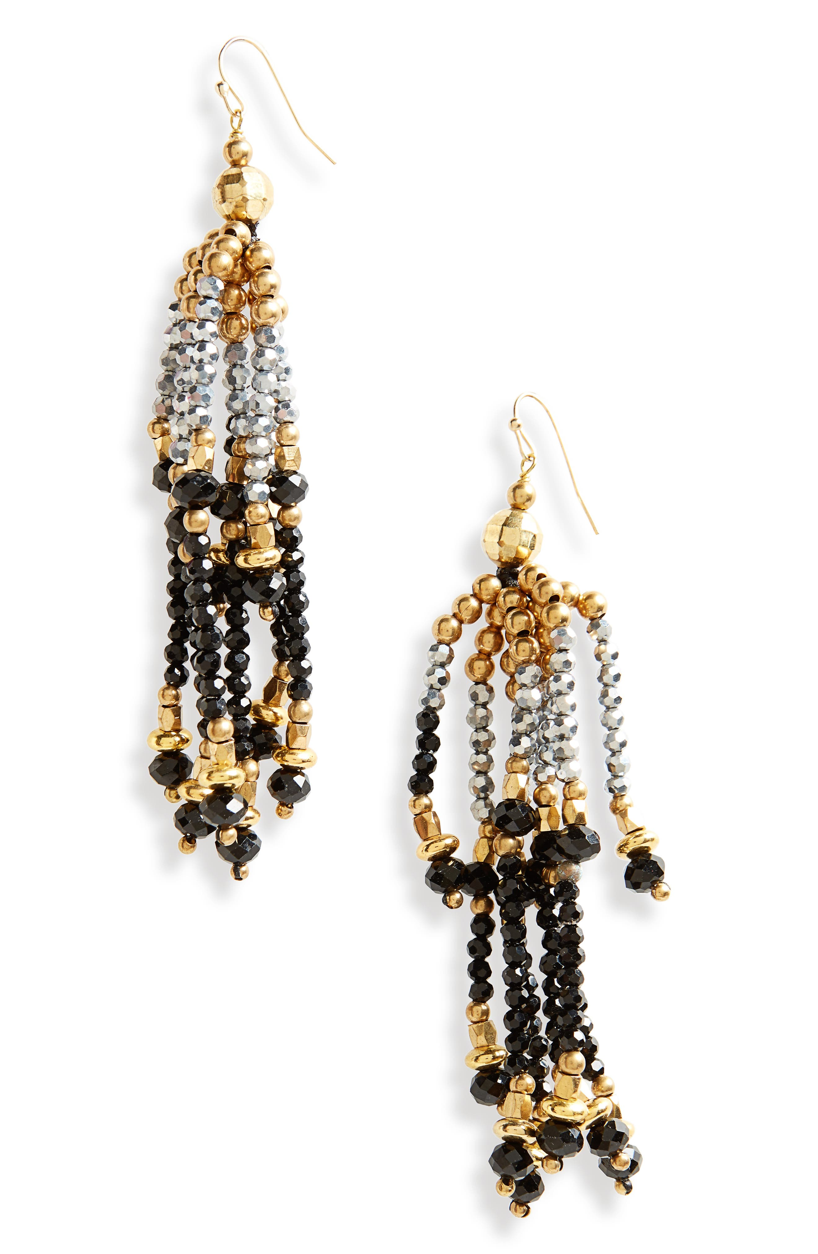 Tiered Tassel Earrings,                         Main,                         color, Gold