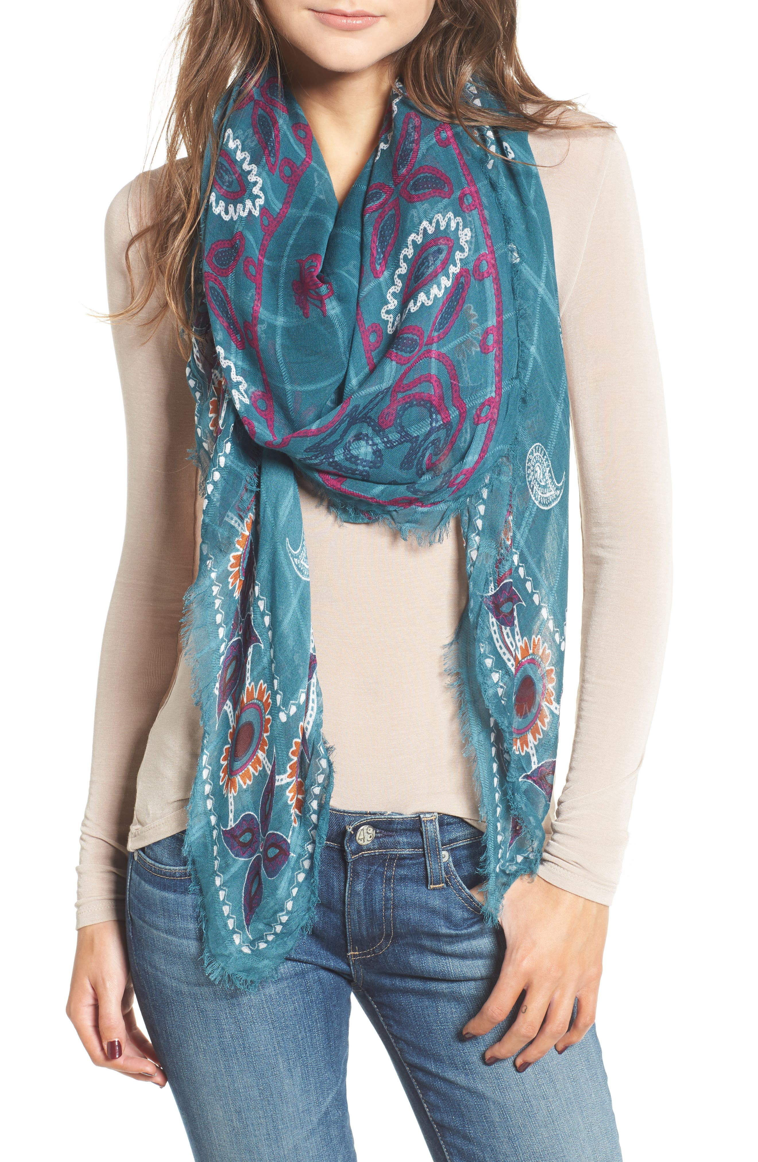 Treasure & Bond Print Textured Square Scarf