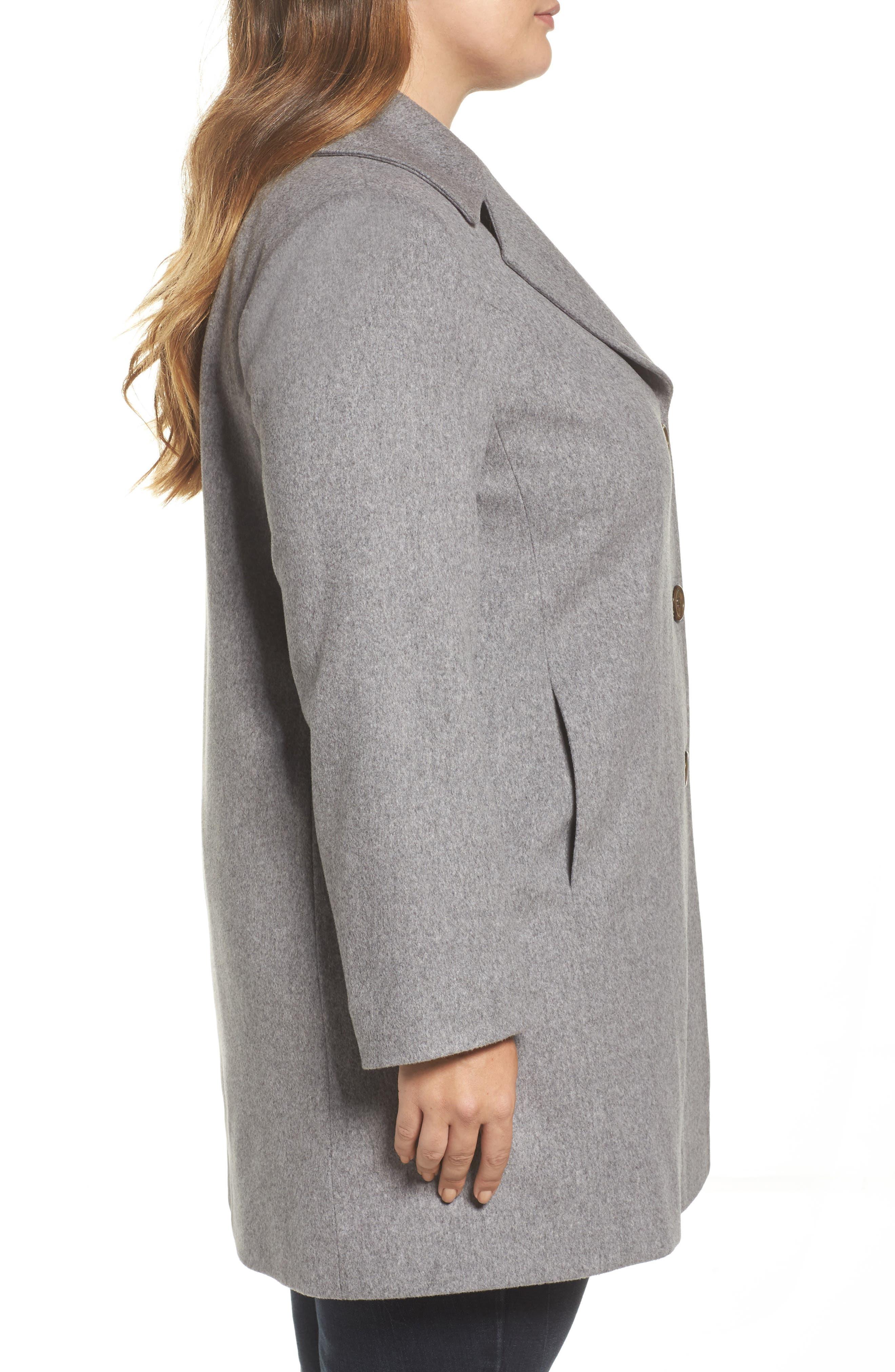 Alternate Image 3  - Fleurette Wool Walking Coat (Plus Size)