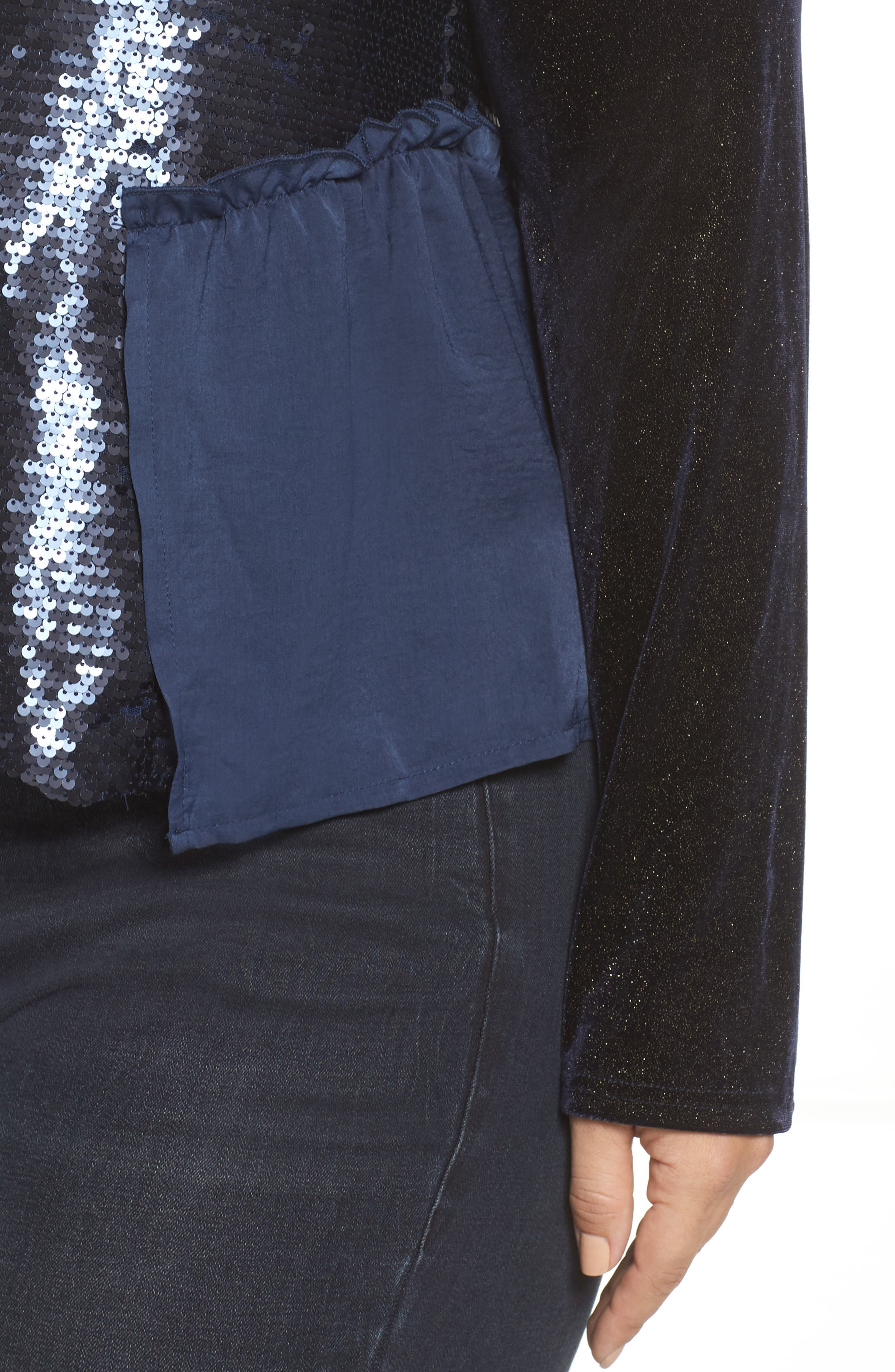 Alternate Image 4  - LOST INK Bell Sleeve Velvet Top with Sequin Cami (Plus Size)