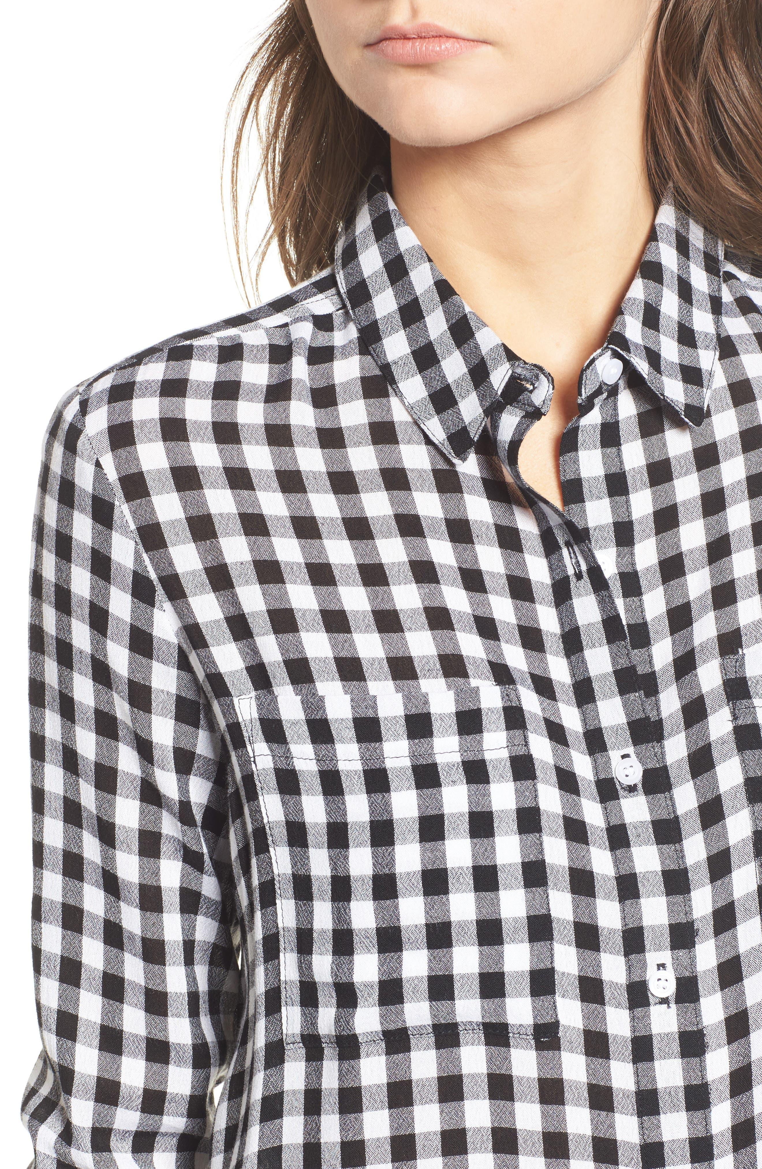 The Perfect Shirt,                             Alternate thumbnail 4, color,                             Black Annete Check