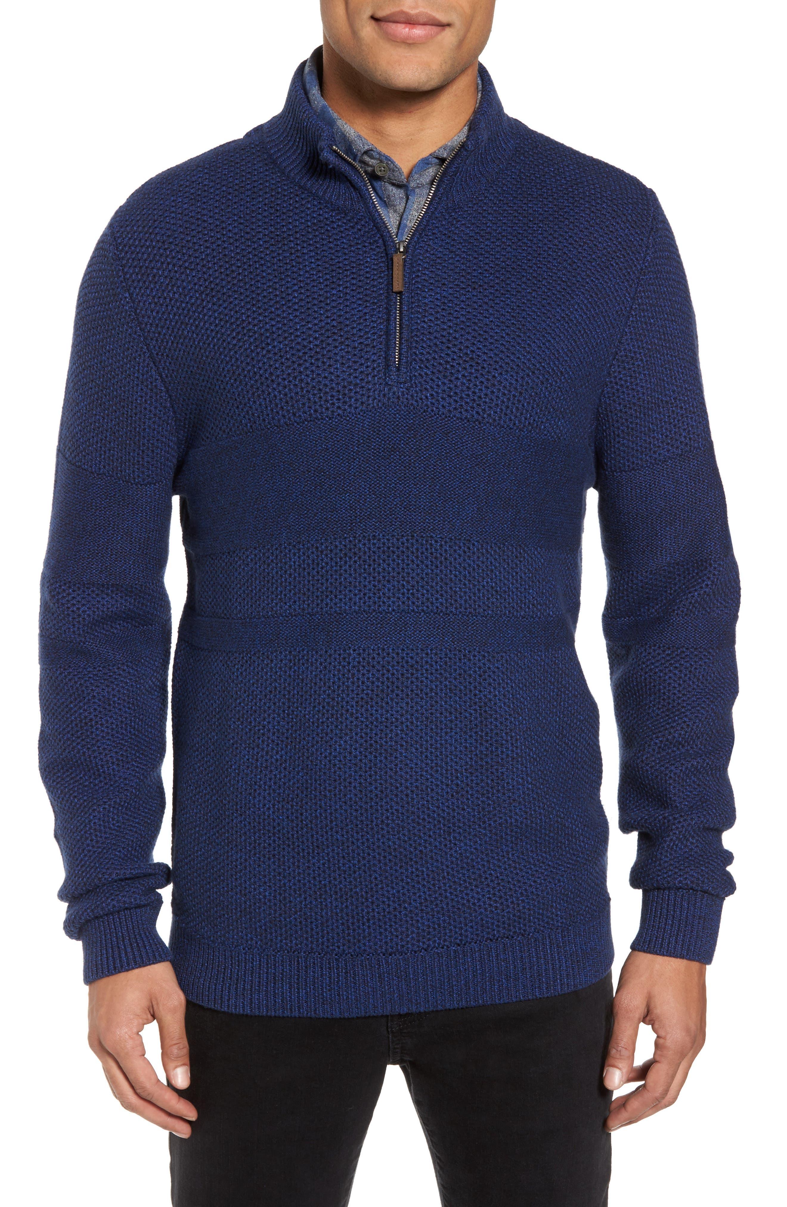 Main Image - Nordstrom Men's Shop Texture Cotton & Cashmere Quarter Zip Sweater (Regular & Tall)