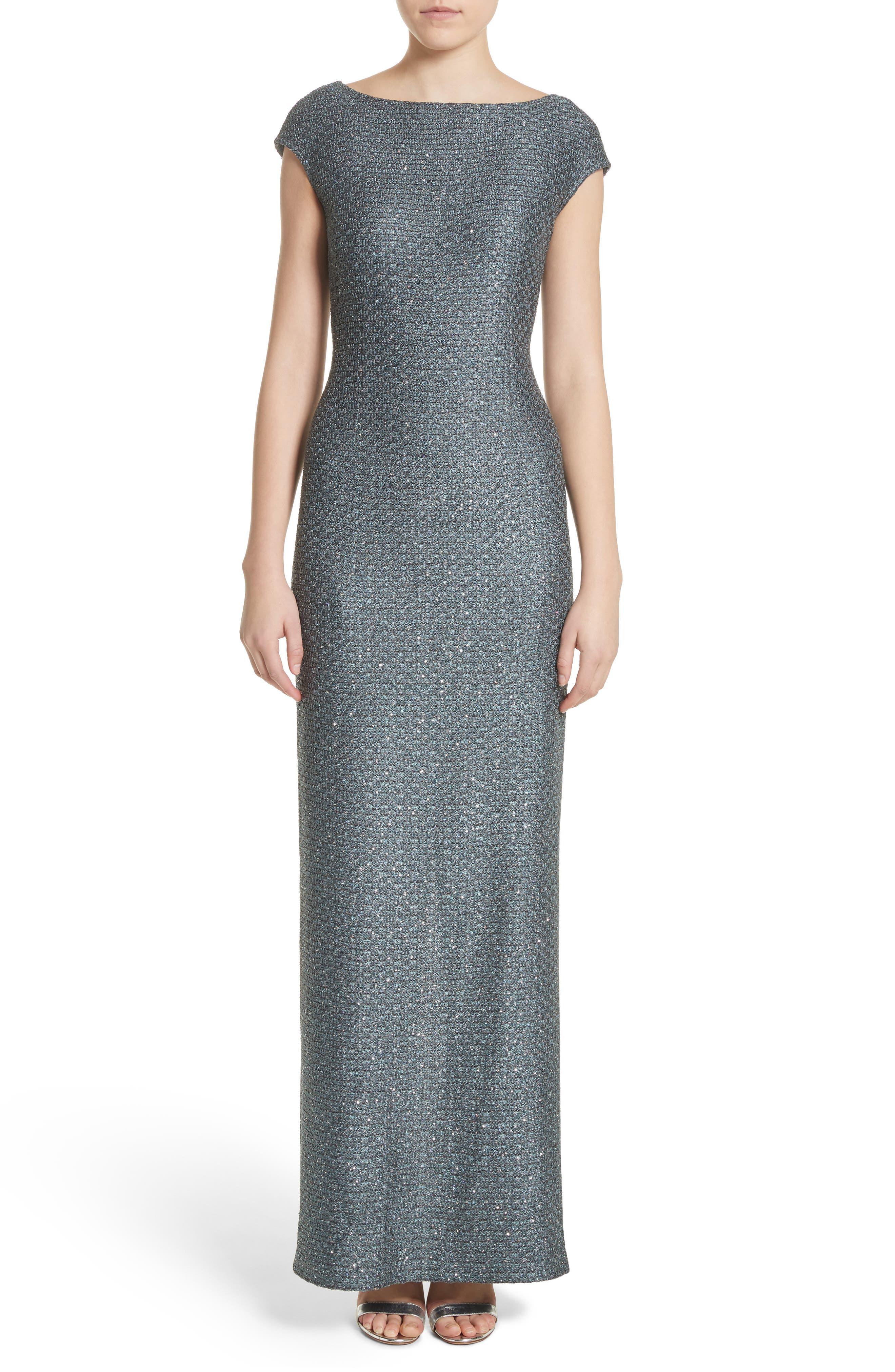 Spark Sequin Hansh Knit Column Gown,                             Main thumbnail 1, color,                             Dark Mint Multi