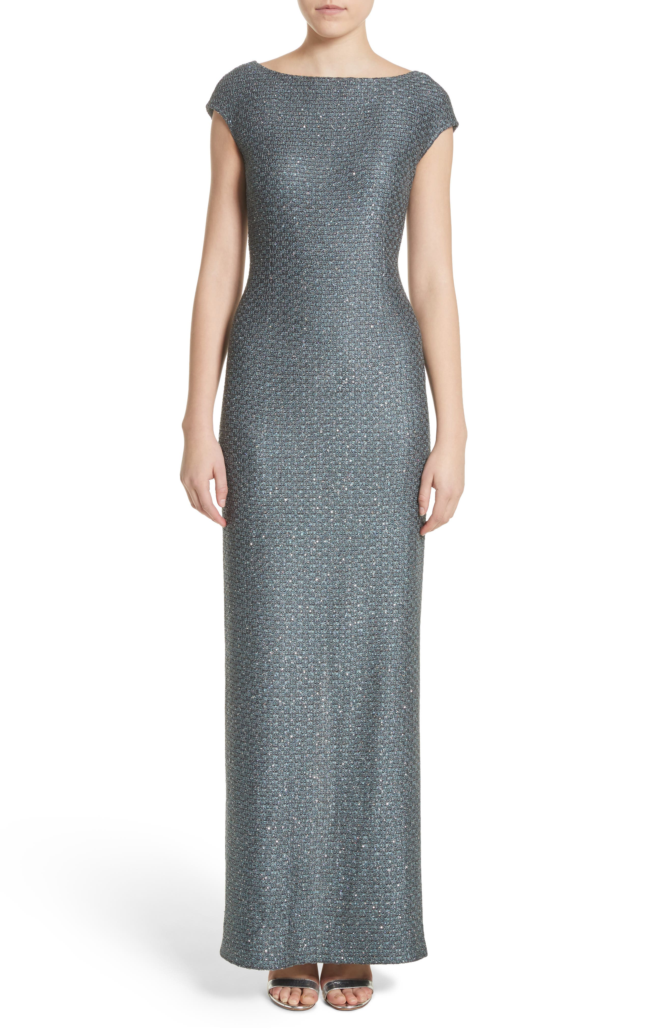 St. John Evening Spark Sequin Hansh Knit Column Gown