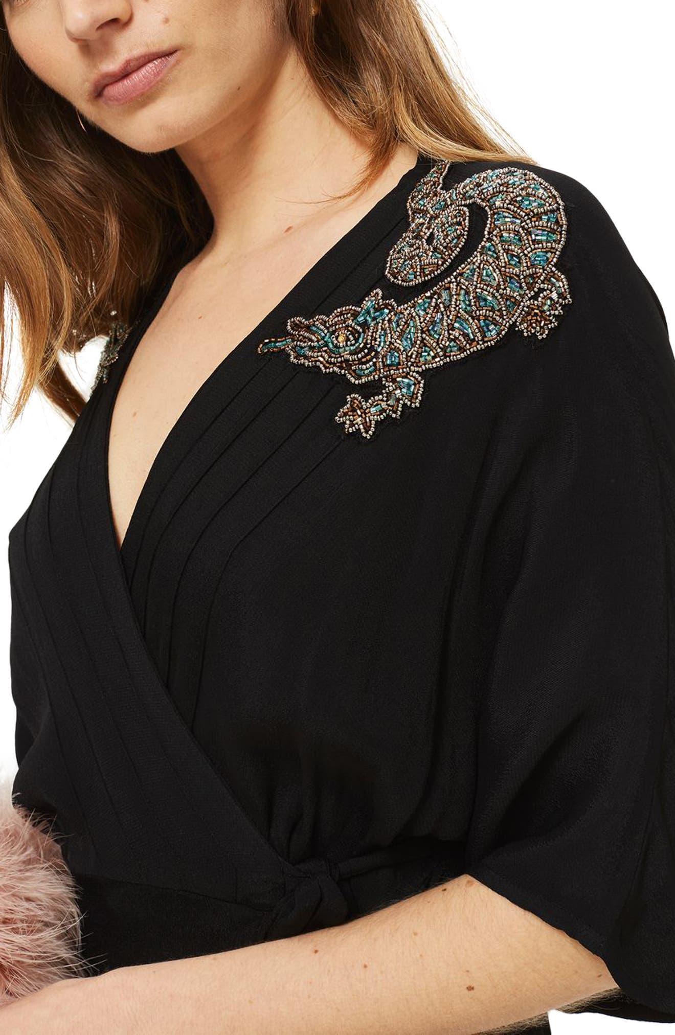 Alternate Image 3  - Topshop Beaded Dragon Wrap Midi Dress