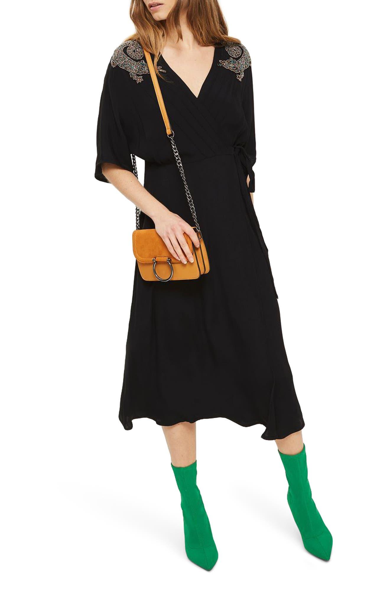 Alternate Image 1 Selected - Topshop Beaded Dragon Wrap Midi Dress