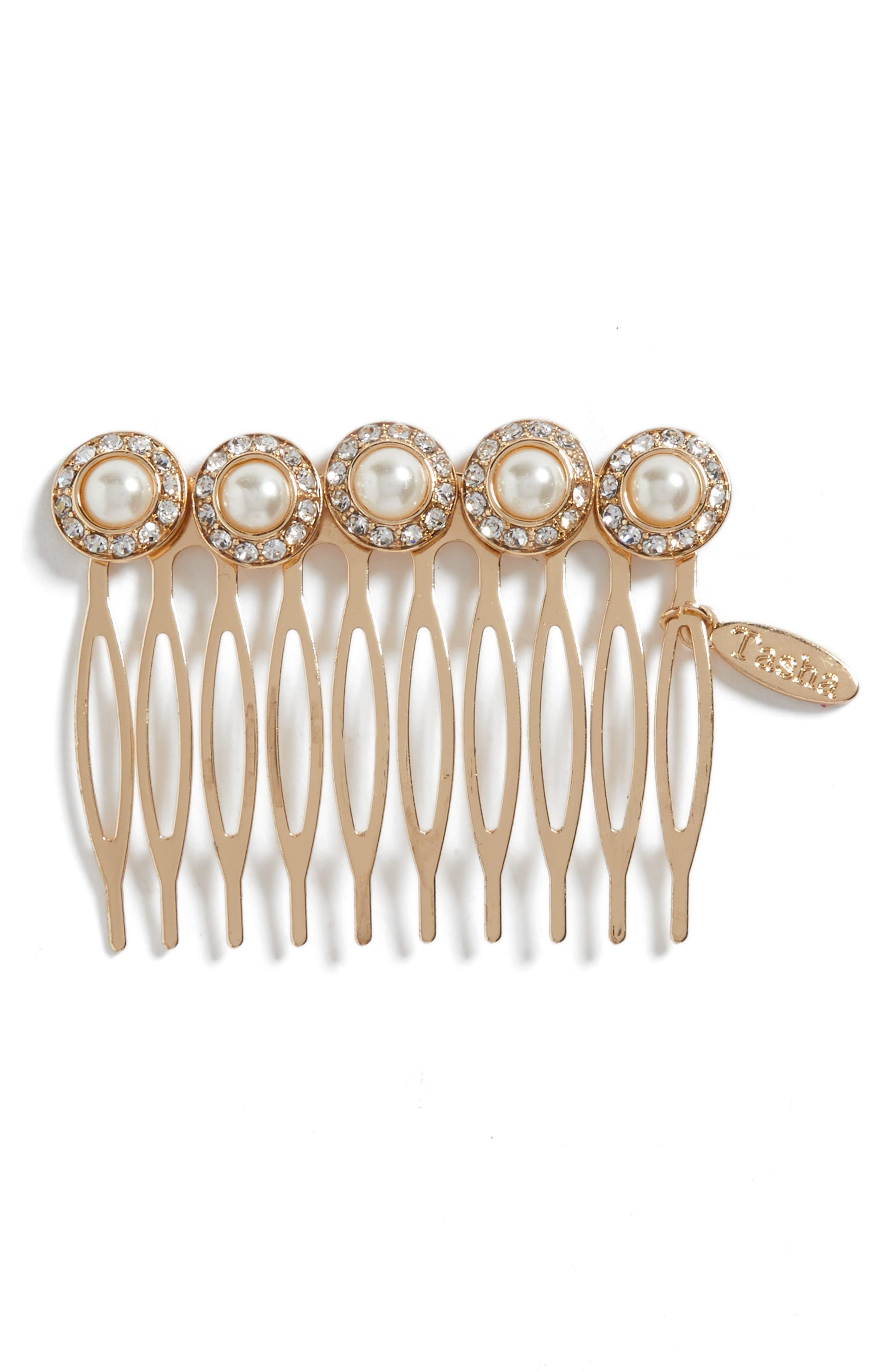 Imitation Pearl Embellished Hair Comb,                             Main thumbnail 1, color,                             Gold