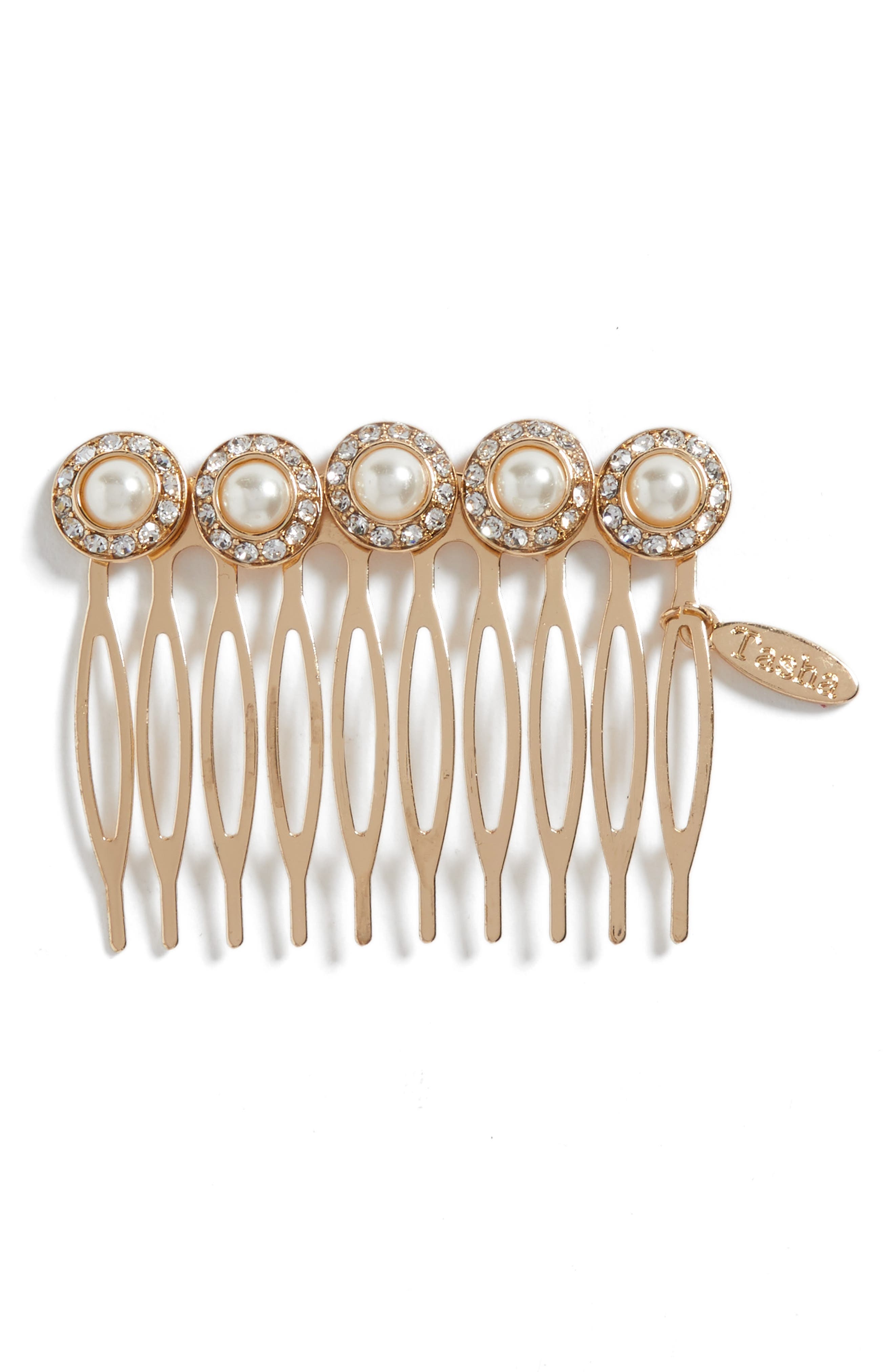 Imitation Pearl Embellished Hair Comb,                         Main,                         color, Gold