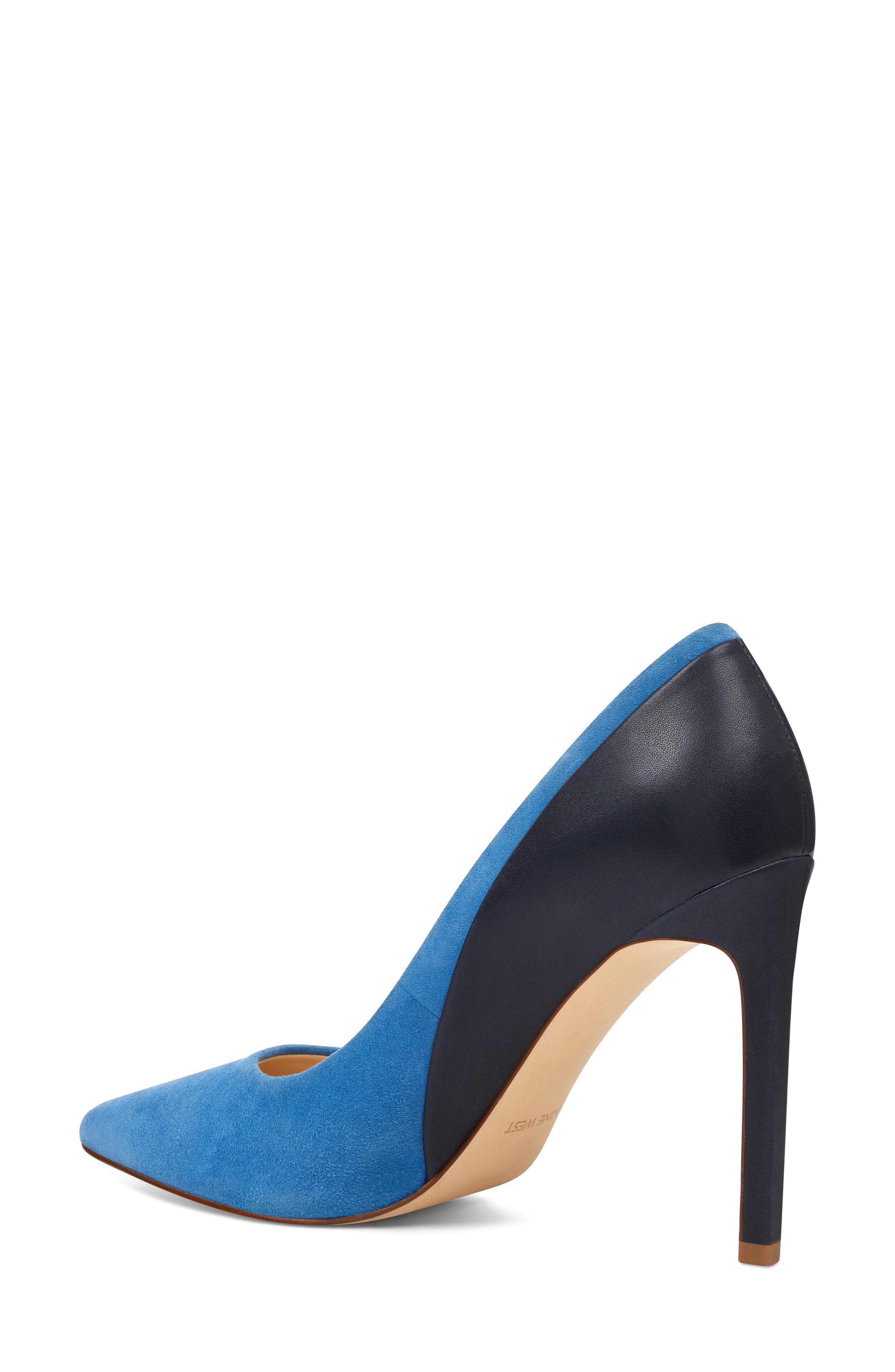 Taymra Pointy Toe Pump,                             Alternate thumbnail 2, color,                             Blue/ Navy Suede