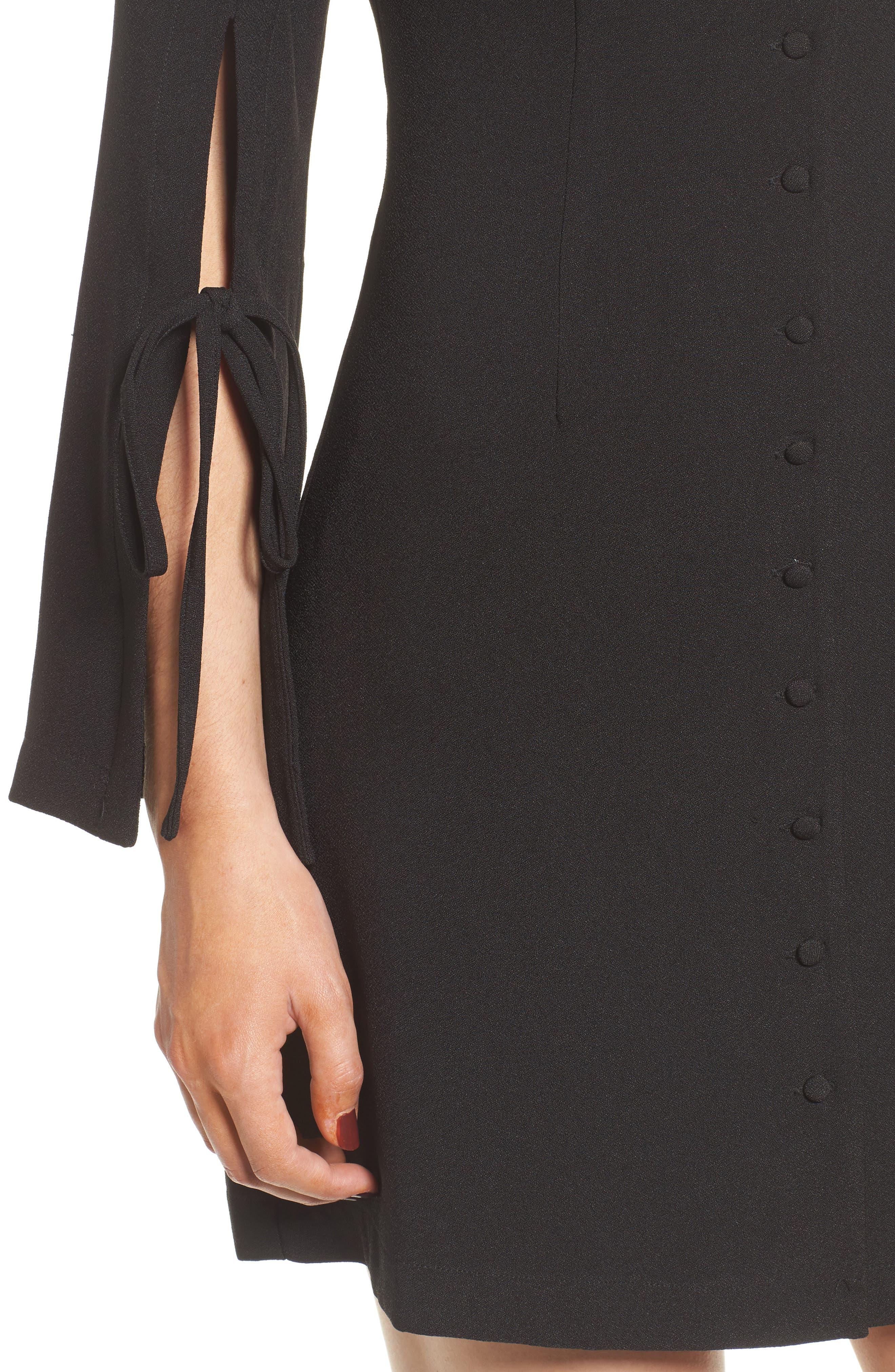 Jeanne Split Sleeve Minidress,                             Alternate thumbnail 4, color,                             Black