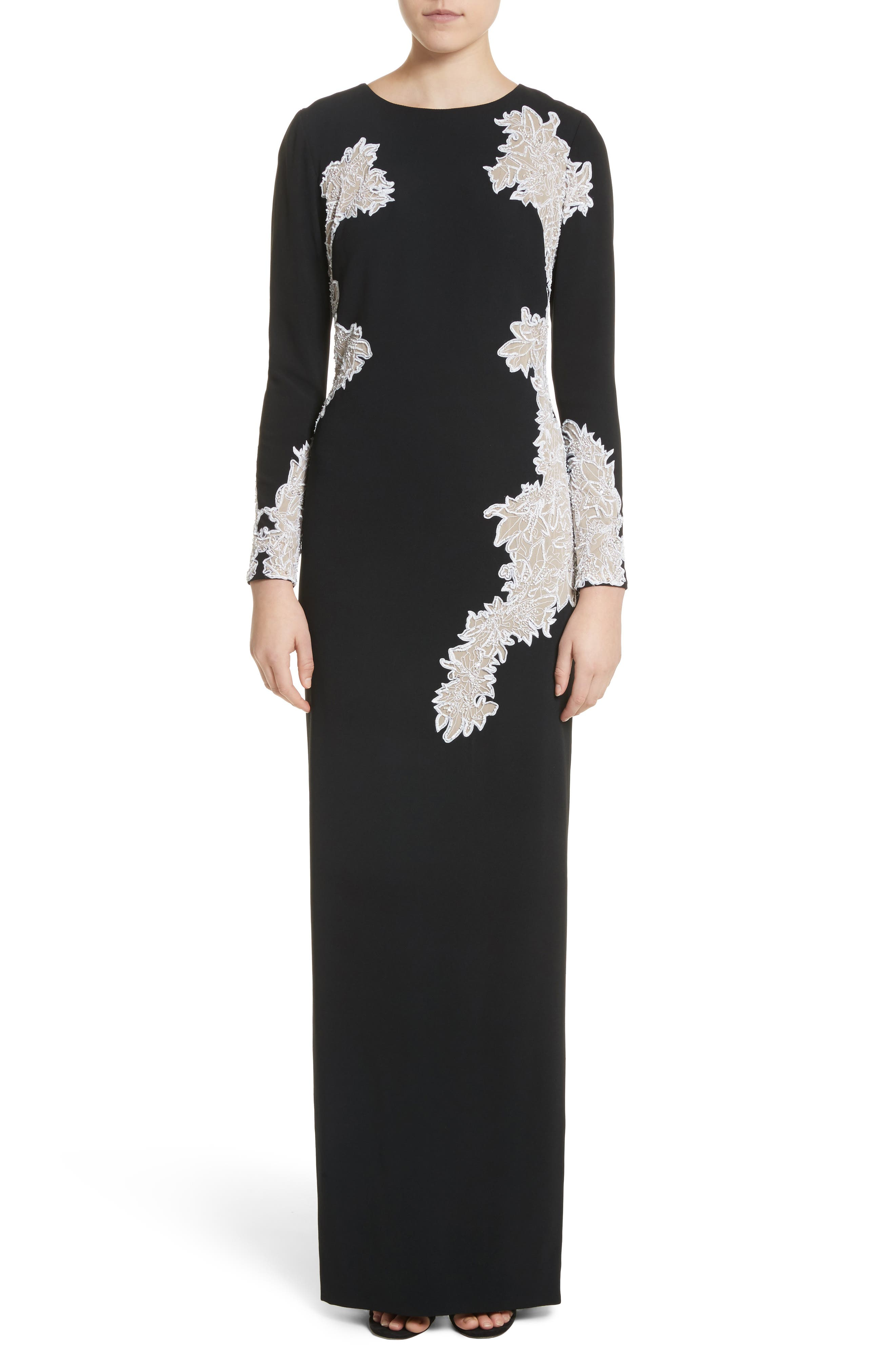 Pamella Roland Embellished Lace Crepe Gown