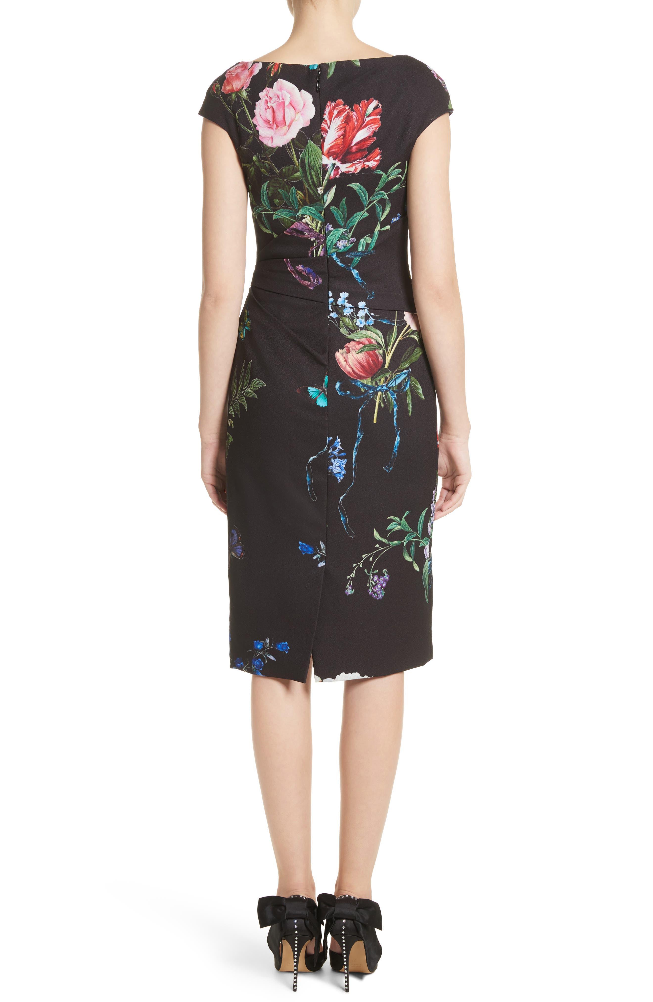 Alternate Image 2  - Monique Lhuillier Botanical Print Draped Sheath Dress