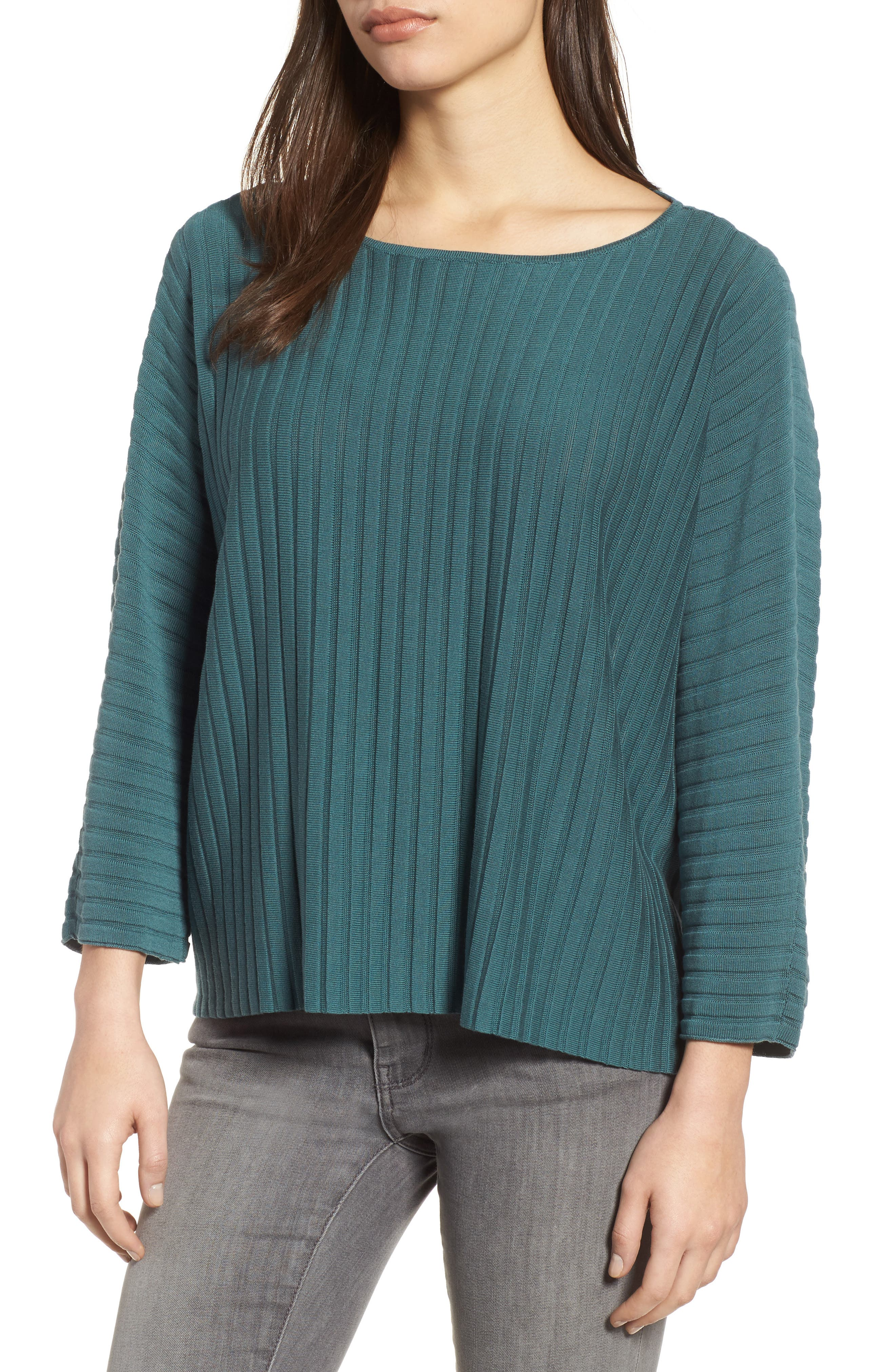 Main Image - Eileen Fisher Ribbed Bateau Neck Sweater