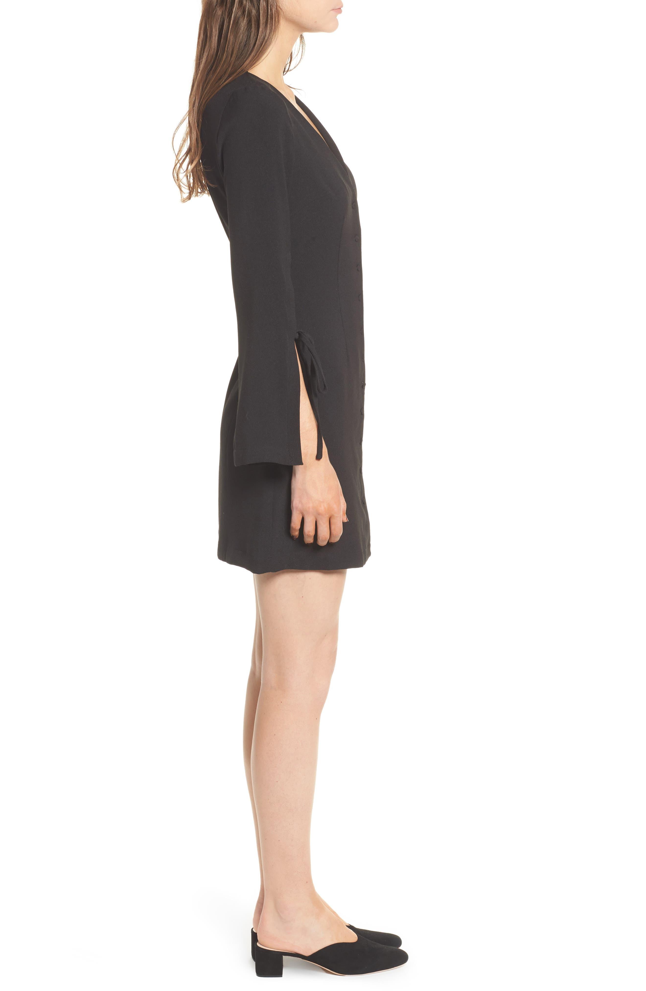Jeanne Split Sleeve Minidress,                             Alternate thumbnail 3, color,                             Black