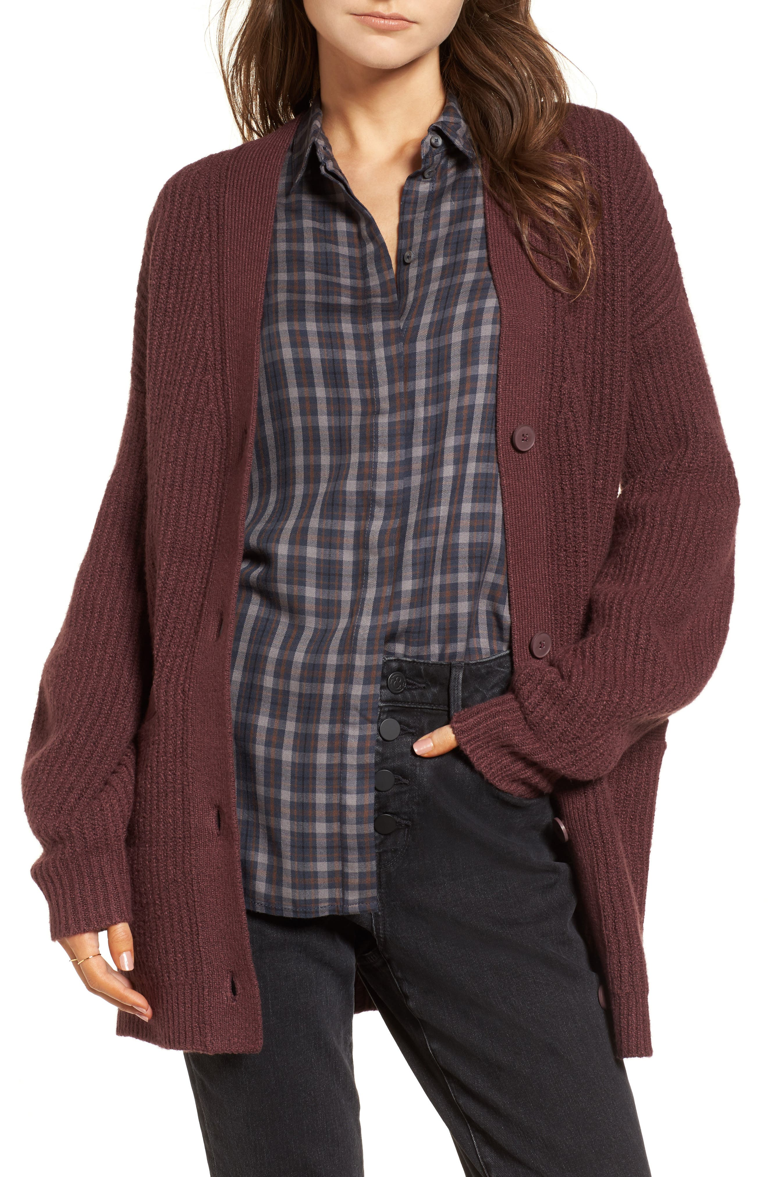 Ribbed Cardigan Sweater,                             Main thumbnail 1, color,                             Burgundy Fudge
