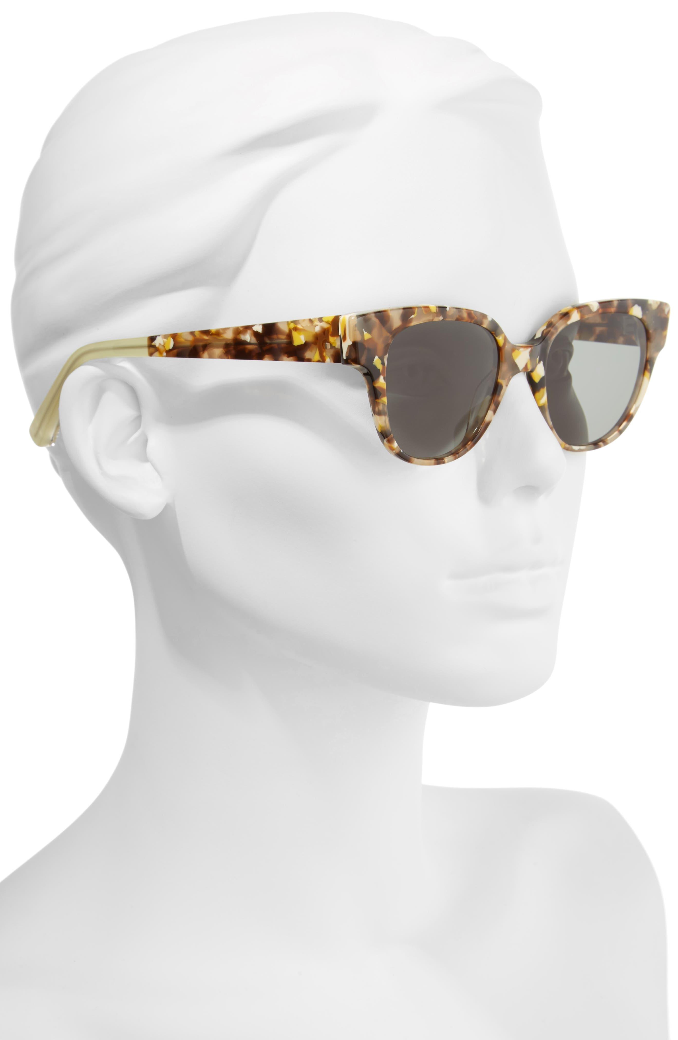 Avory 49mm Cat Eye Sunglasses,                             Alternate thumbnail 2, color,                             Amber/ Green