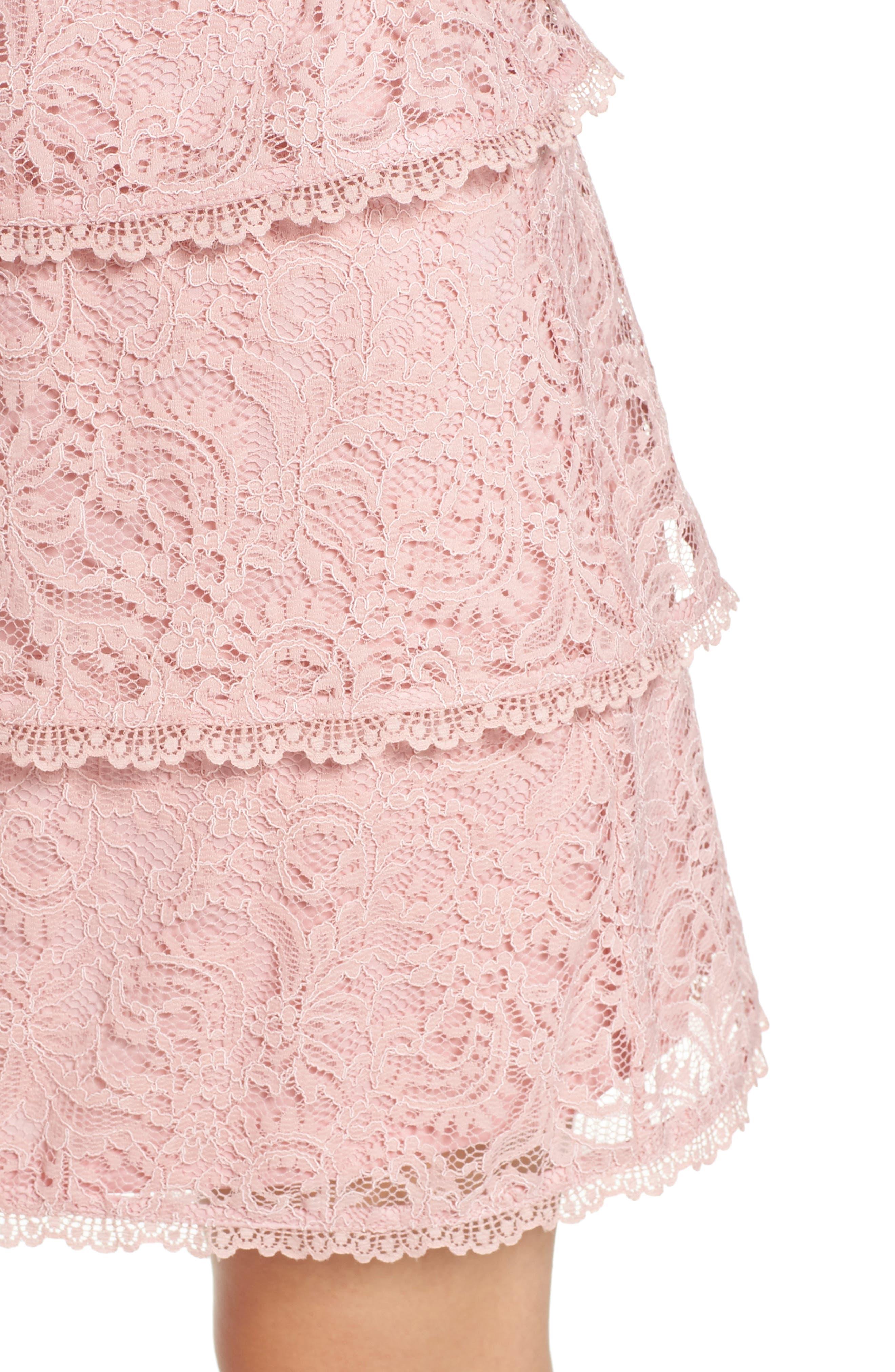 Sophia Tiered Lace Dress,                             Alternate thumbnail 4, color,                             Lilac Mist