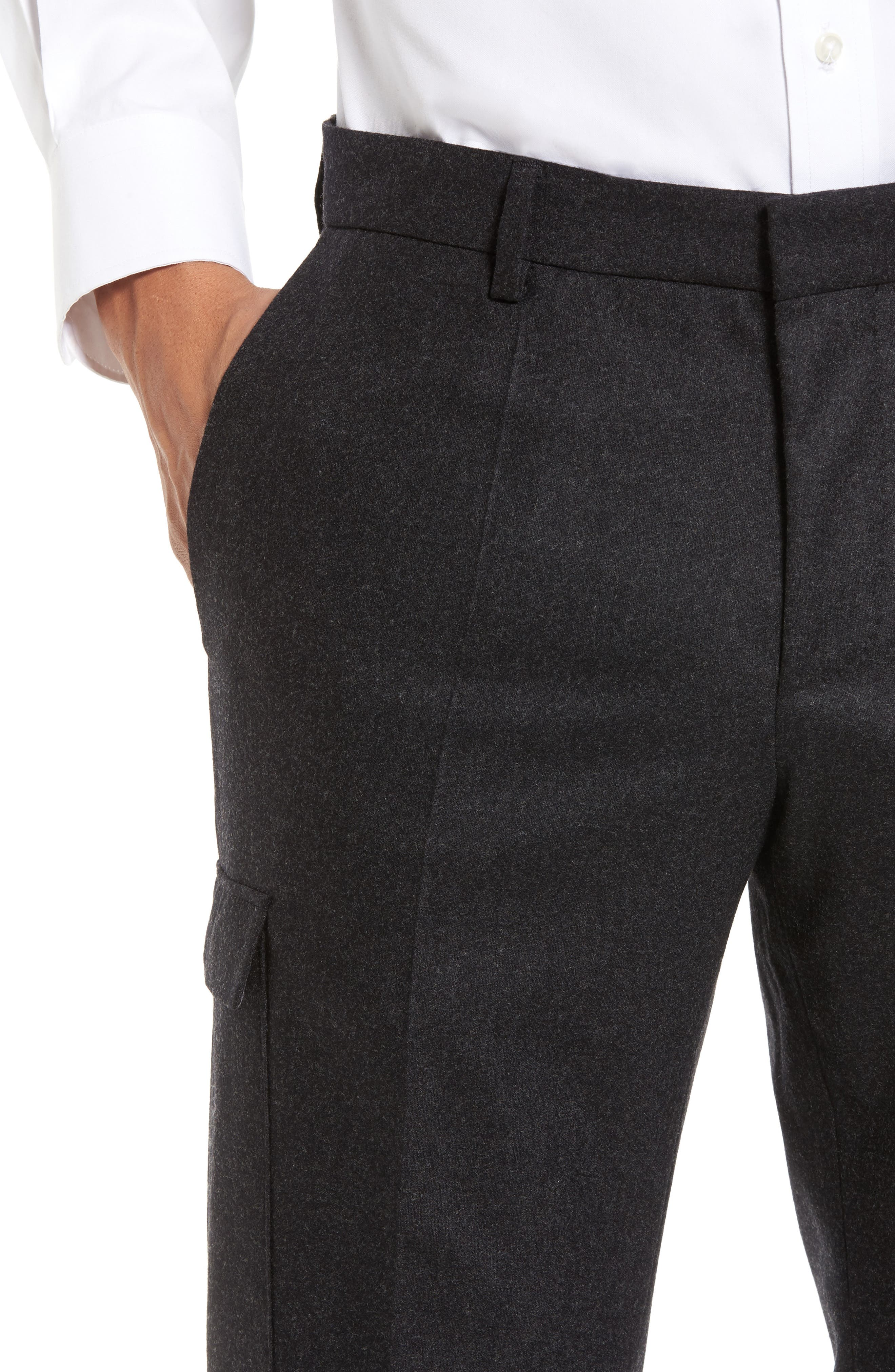 Balour Flat Front Stretch Solid Wool & Cashmere Cargo Trousers,                             Alternate thumbnail 4, color,                             Dark Grey