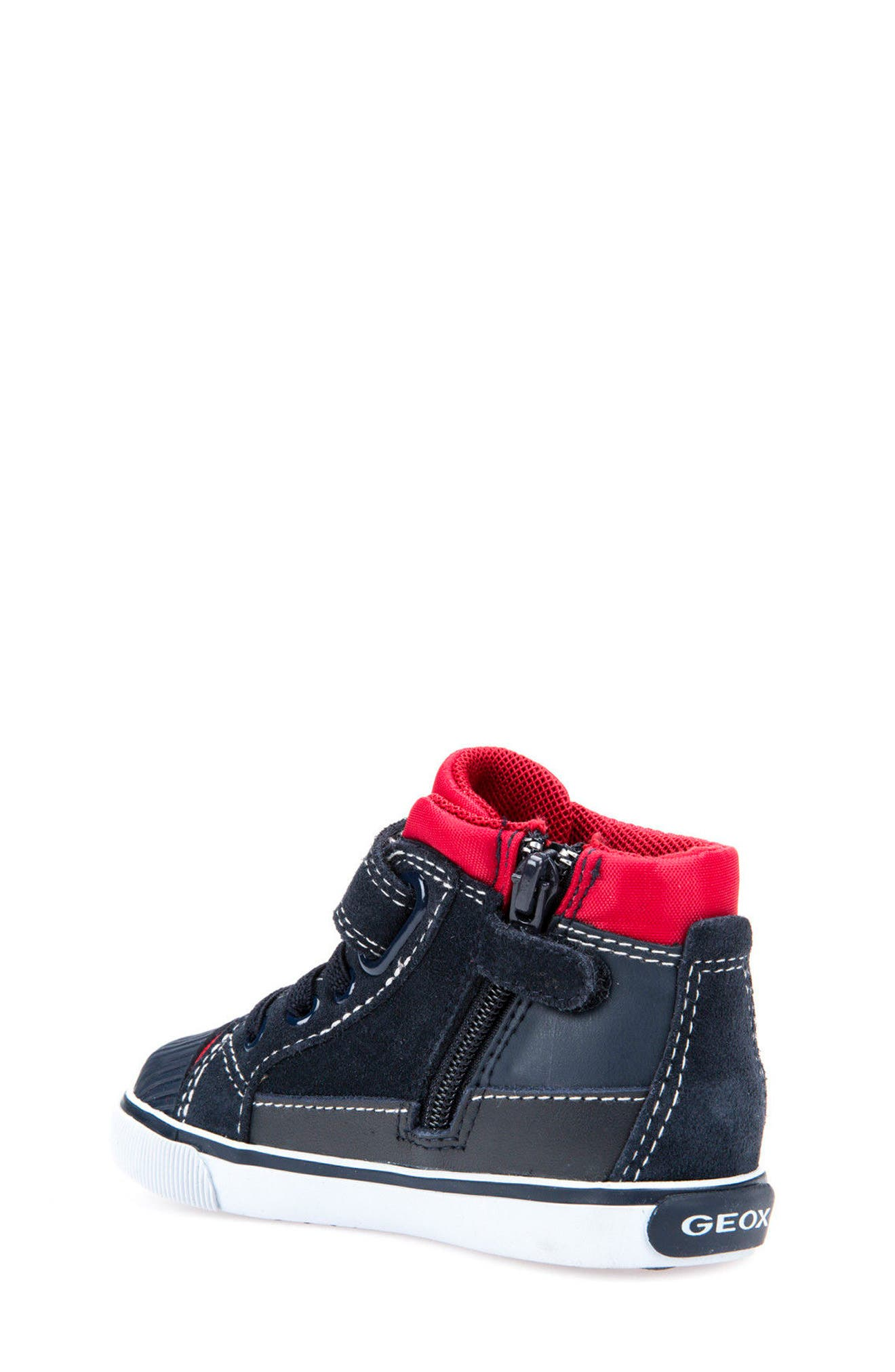 Kiwi Boy High Top Sneaker,                             Alternate thumbnail 2, color,                             Navy/ Red