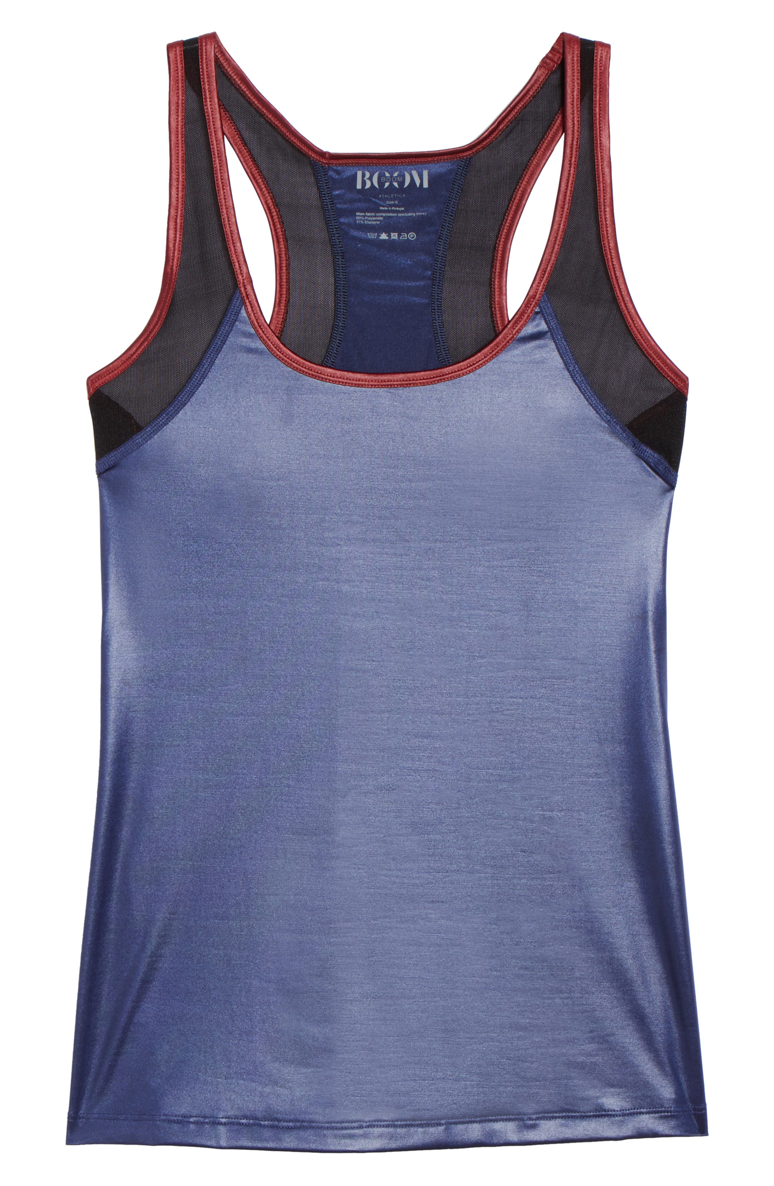 BoomBoom Athletica Glossy Tank,                             Alternate thumbnail 7, color,                             Navy/Oxblood