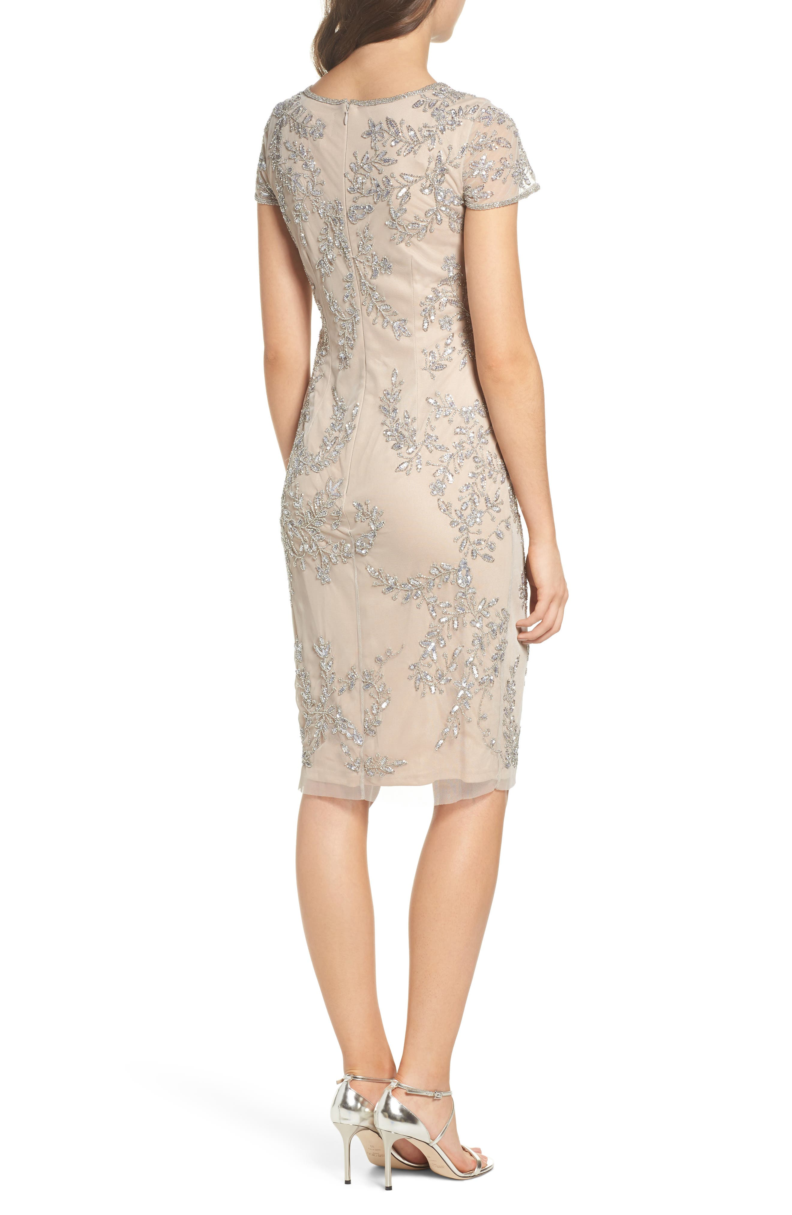 Beaded Sheath Dress,                             Alternate thumbnail 2, color,                             Silver/ Nude