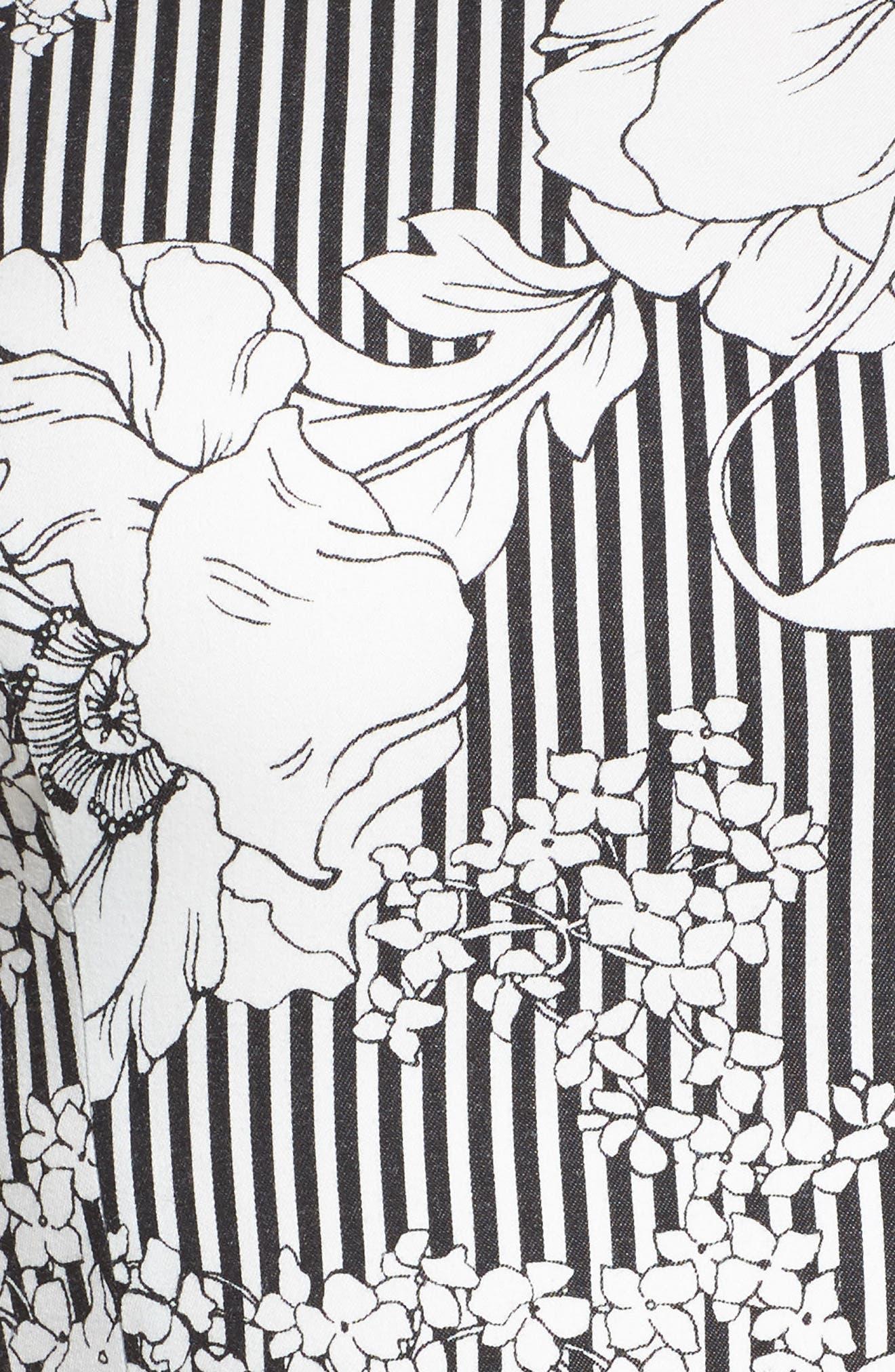 Floral Asymmetrical Ruffle Dress,                             Alternate thumbnail 5, color,                             Black White Floral