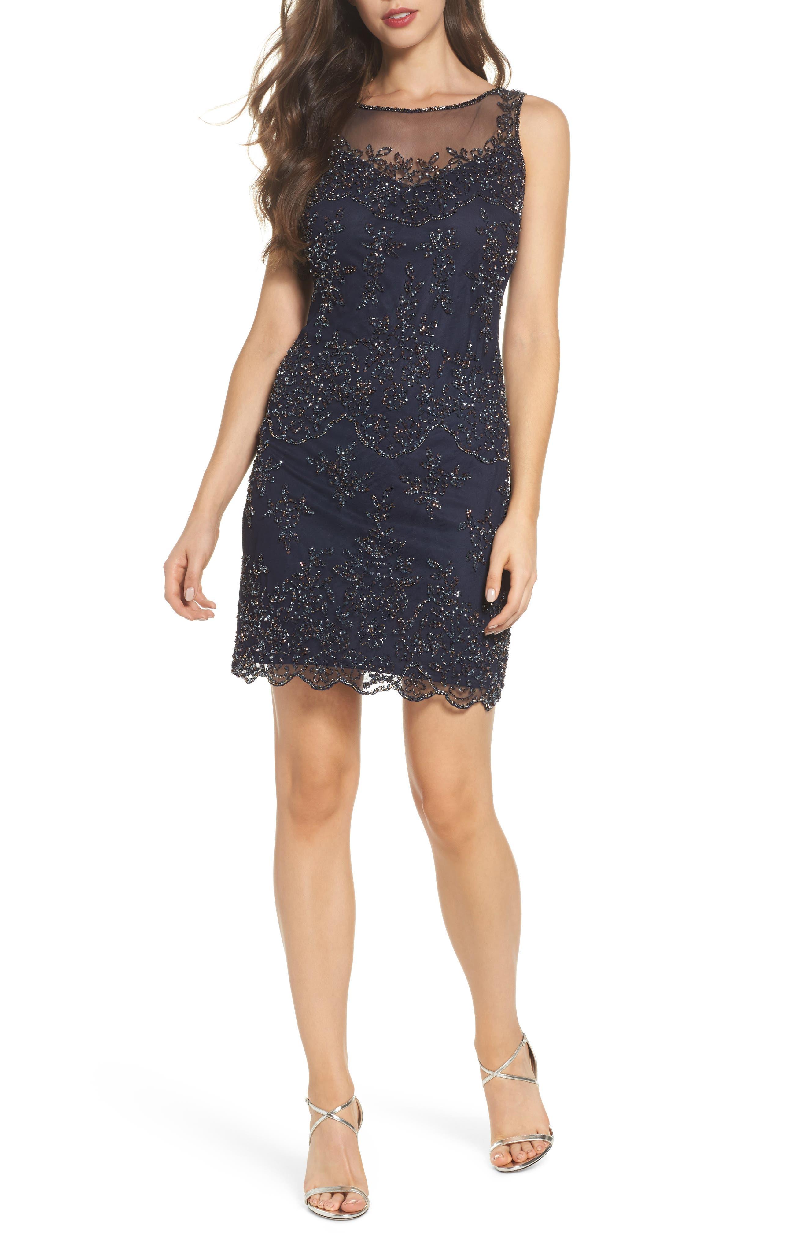 Embellished Dress,                         Main,                         color, Navy