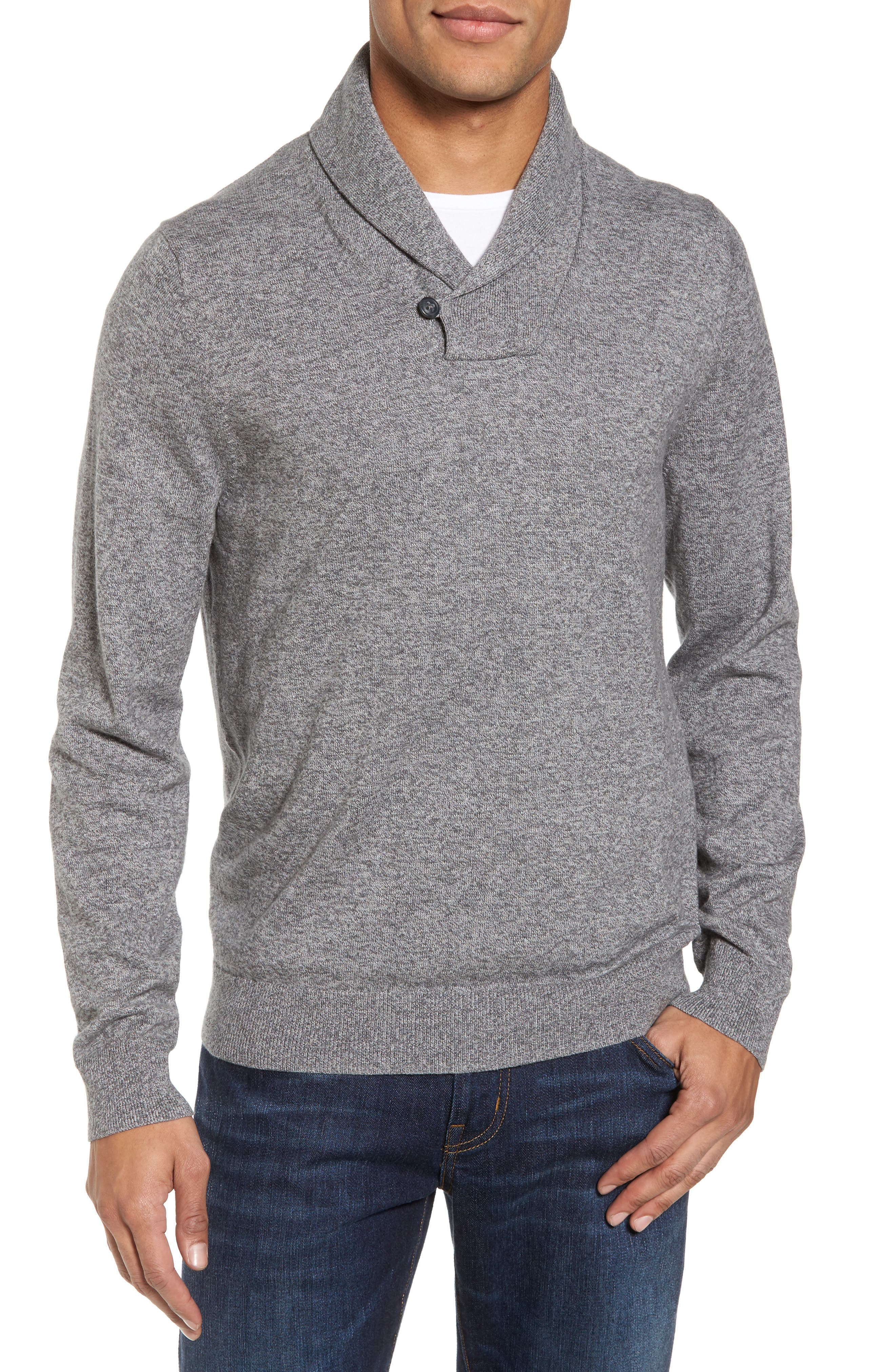 Alternate Image 1 Selected - Nordstrom Men's Shop Cotton & Cashmere Shawl Collar Sweater (Regular & Tall)