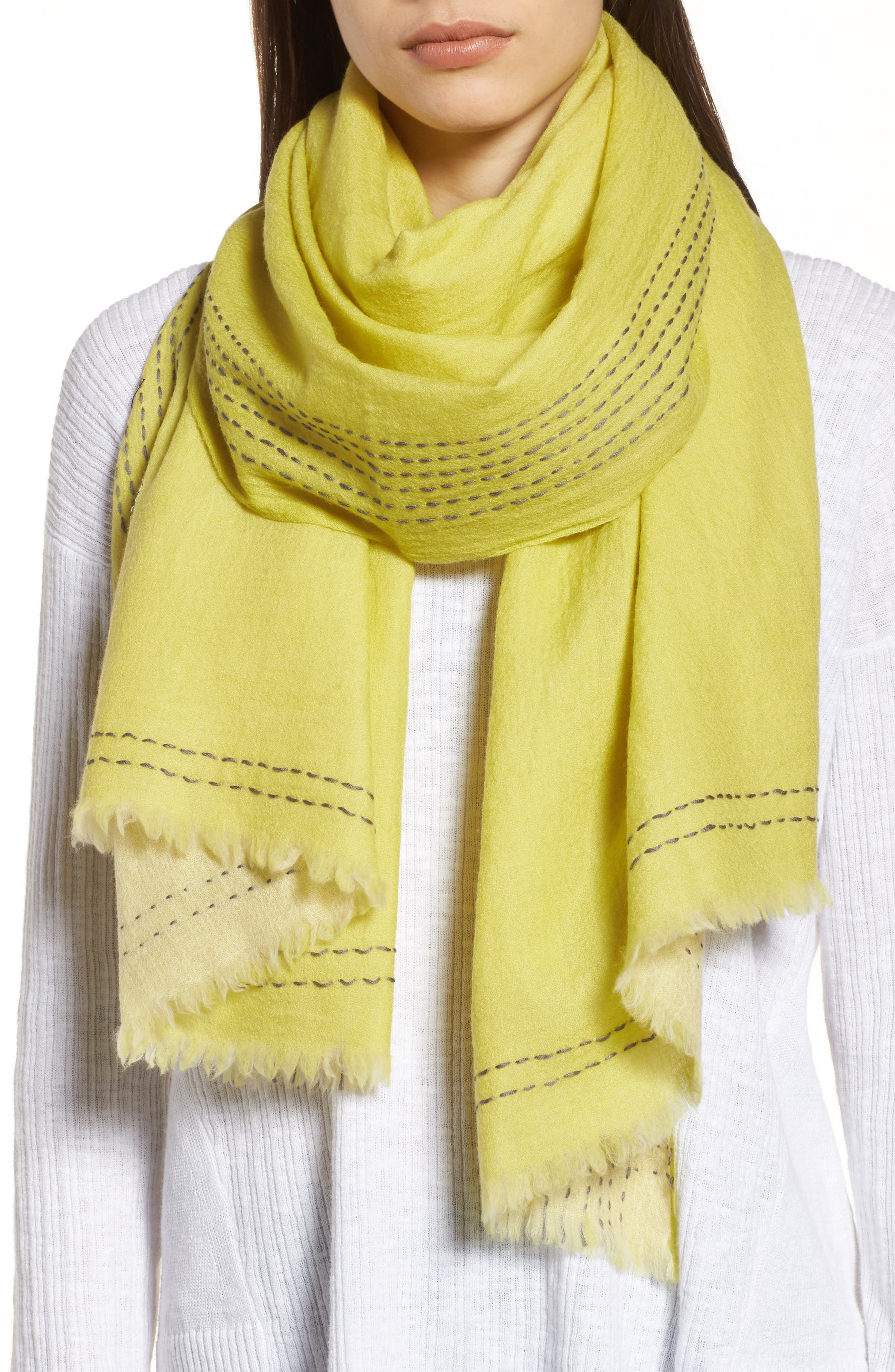 Embroidered Wool Scarf,                         Main,                         color, Verbena