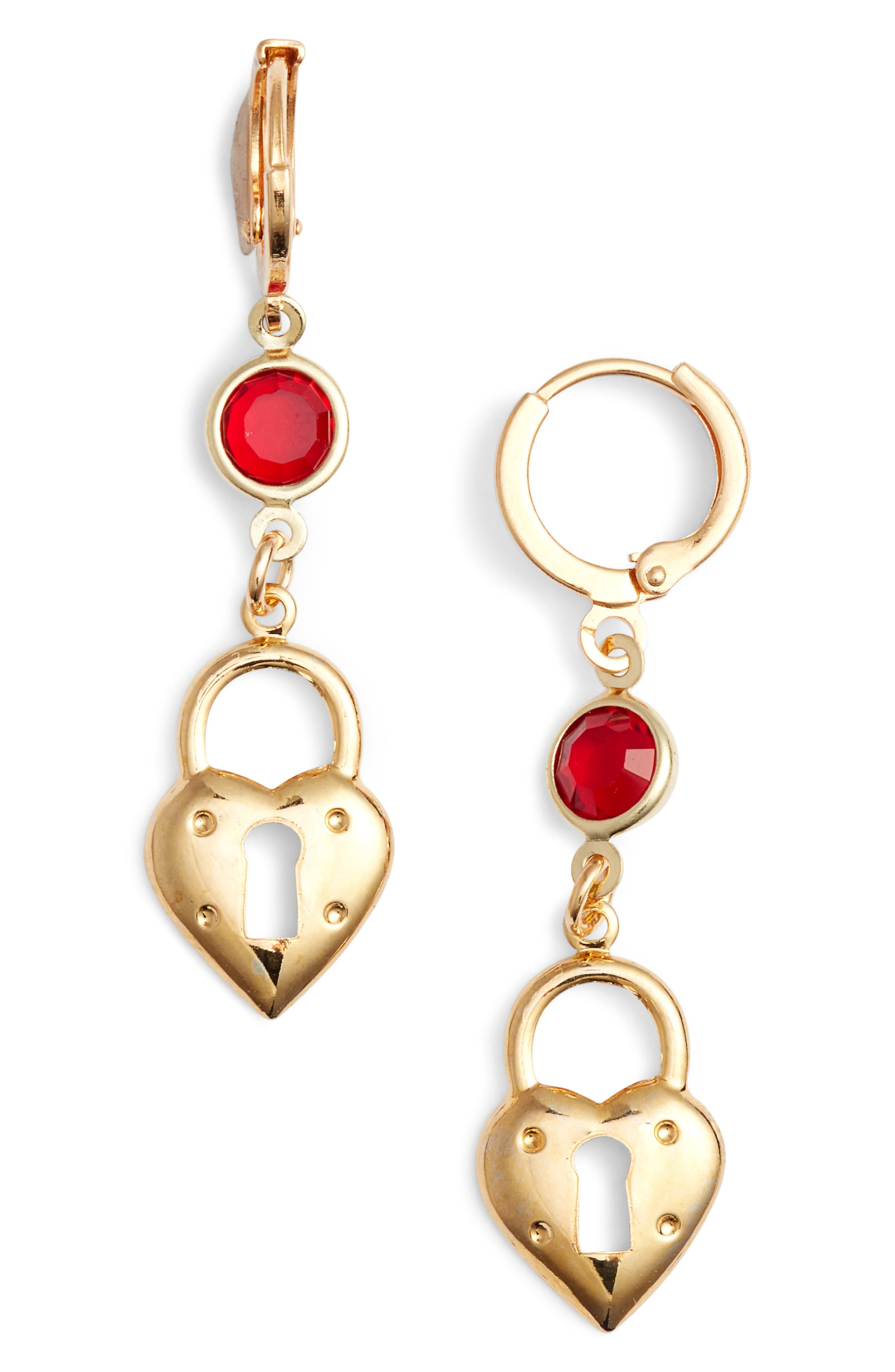 Lovers Drop Earrings,                         Main,                         color, Gold