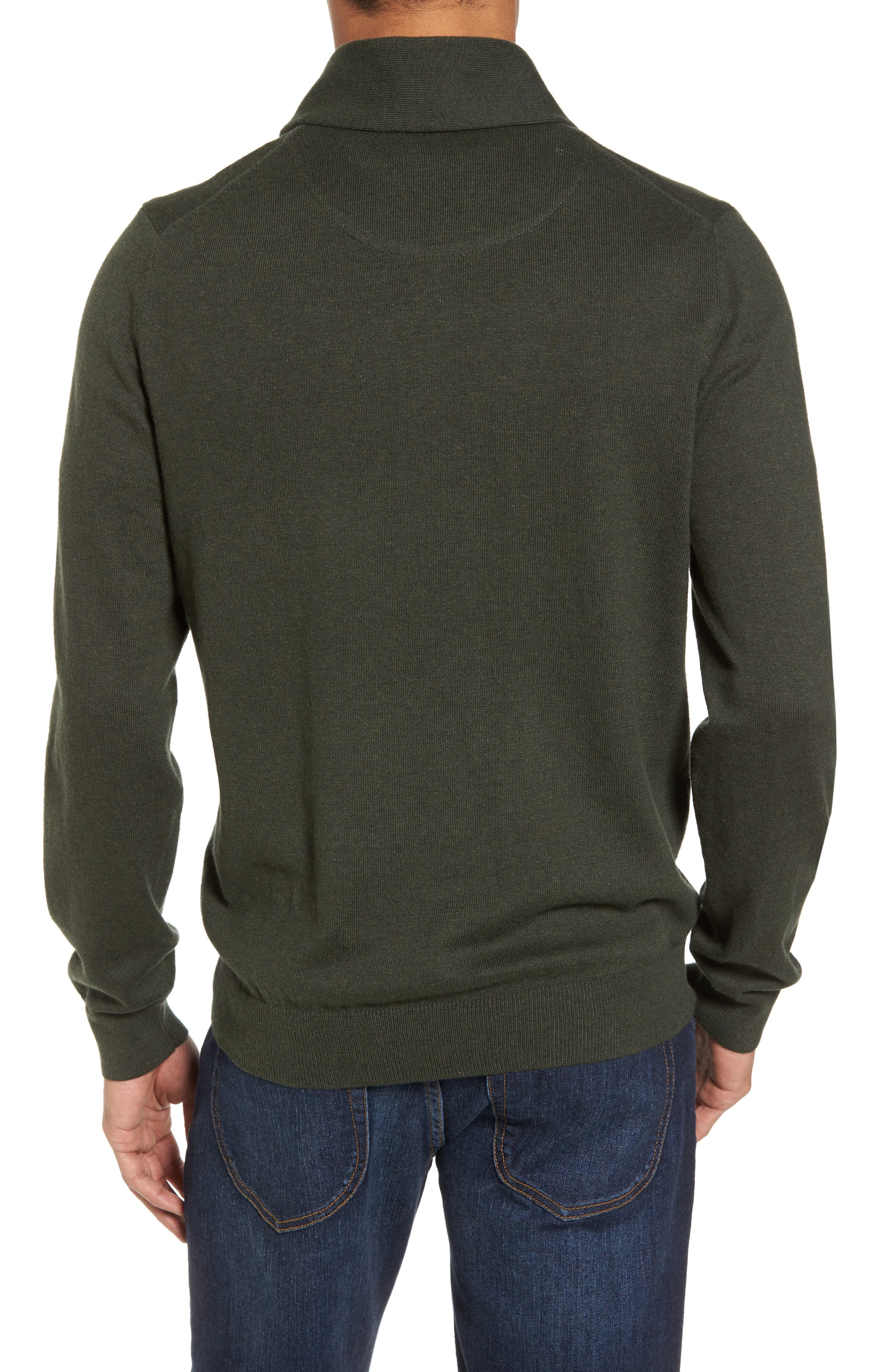 Cotton & Cashmere Shawl Collar Sweater,                             Alternate thumbnail 2, color,                             Green Deep Pine