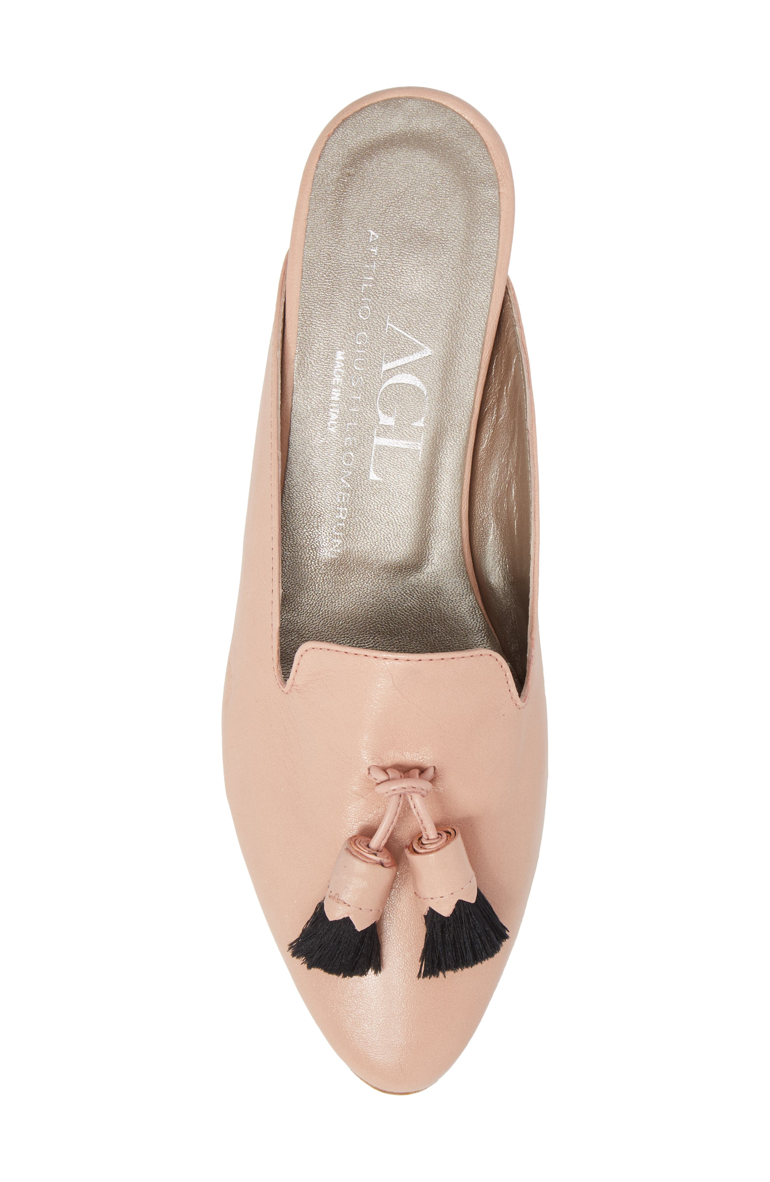 Tassel Loafer Mule,                             Alternate thumbnail 5, color,                             Nude Pink Leather